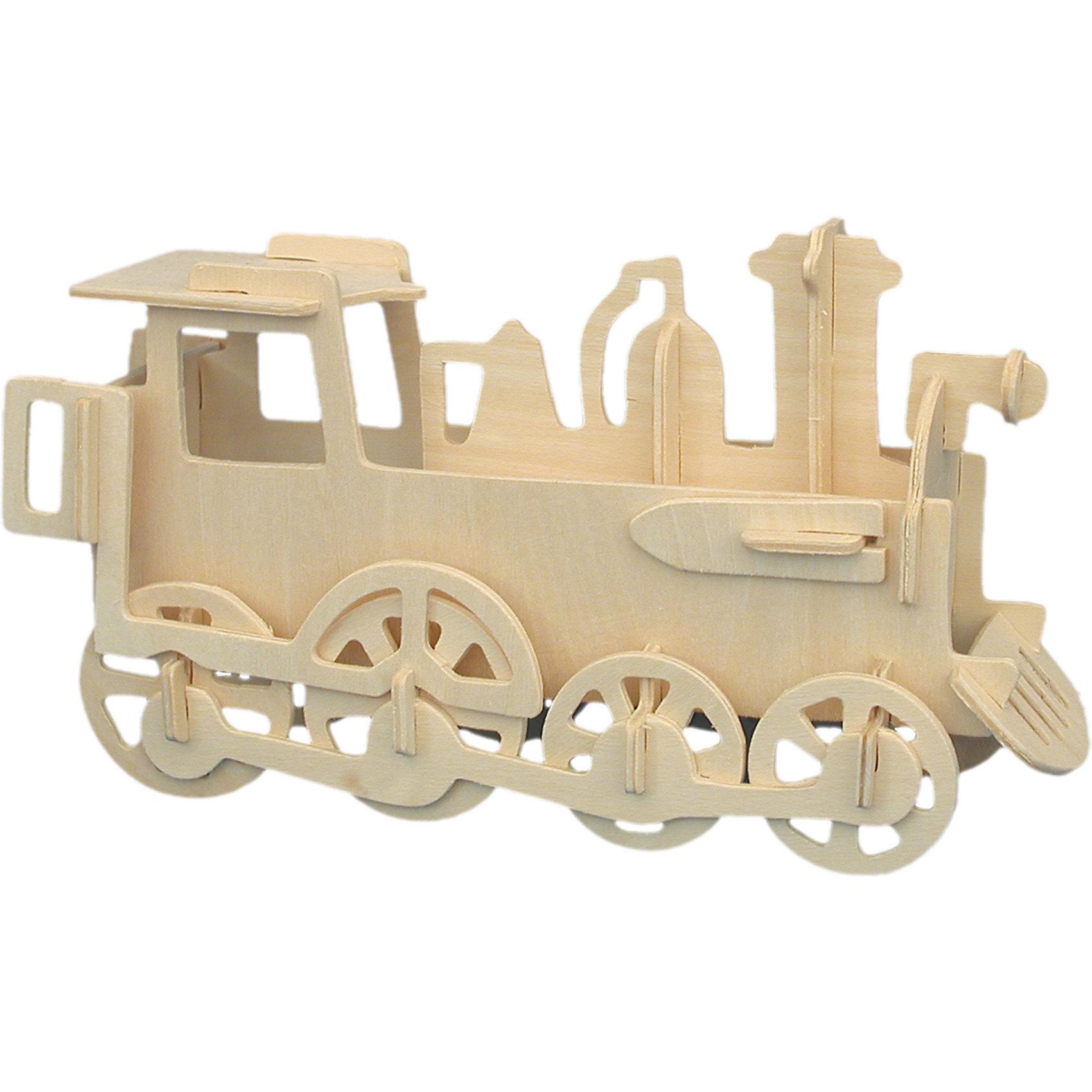Паровоз, Мир деревянных игрушекДеревянные модели<br>Отличный вариант подарка для любящего технику творческого ребенка - этот набор, из которого можно самому сделать красивую деревянную фигуру! Для этого нужно выдавить из пластины с деталями элементы для сборки и соединить их. Из наборов получаются красивые очень реалистичные игрушки, которые могут стать украшением комнаты.<br>Собирая их, ребенок будет развивать пространственное мышление, память и мелкую моторику. А раскрашивая готовое произведение, дети научатся подбирать цвета и будут развивать художественные навыки. Этот набор произведен из качественных и безопасных для детей материалов - дерево тщательно обработано.<br><br>Дополнительная информация:<br><br>материал: дерево;<br>цвет: бежевый;<br>элементы: пластины с деталями для сборки, схема сборки;<br>размер упаковки: 23 х 18 см.<br><br>3D-пазл Паровоз от бренда Мир деревянных игрушек можно купить в нашем магазине.<br><br>Ширина мм: 225<br>Глубина мм: 30<br>Высота мм: 180<br>Вес г: 450<br>Возраст от месяцев: 36<br>Возраст до месяцев: 144<br>Пол: Унисекс<br>Возраст: Детский<br>SKU: 4969090