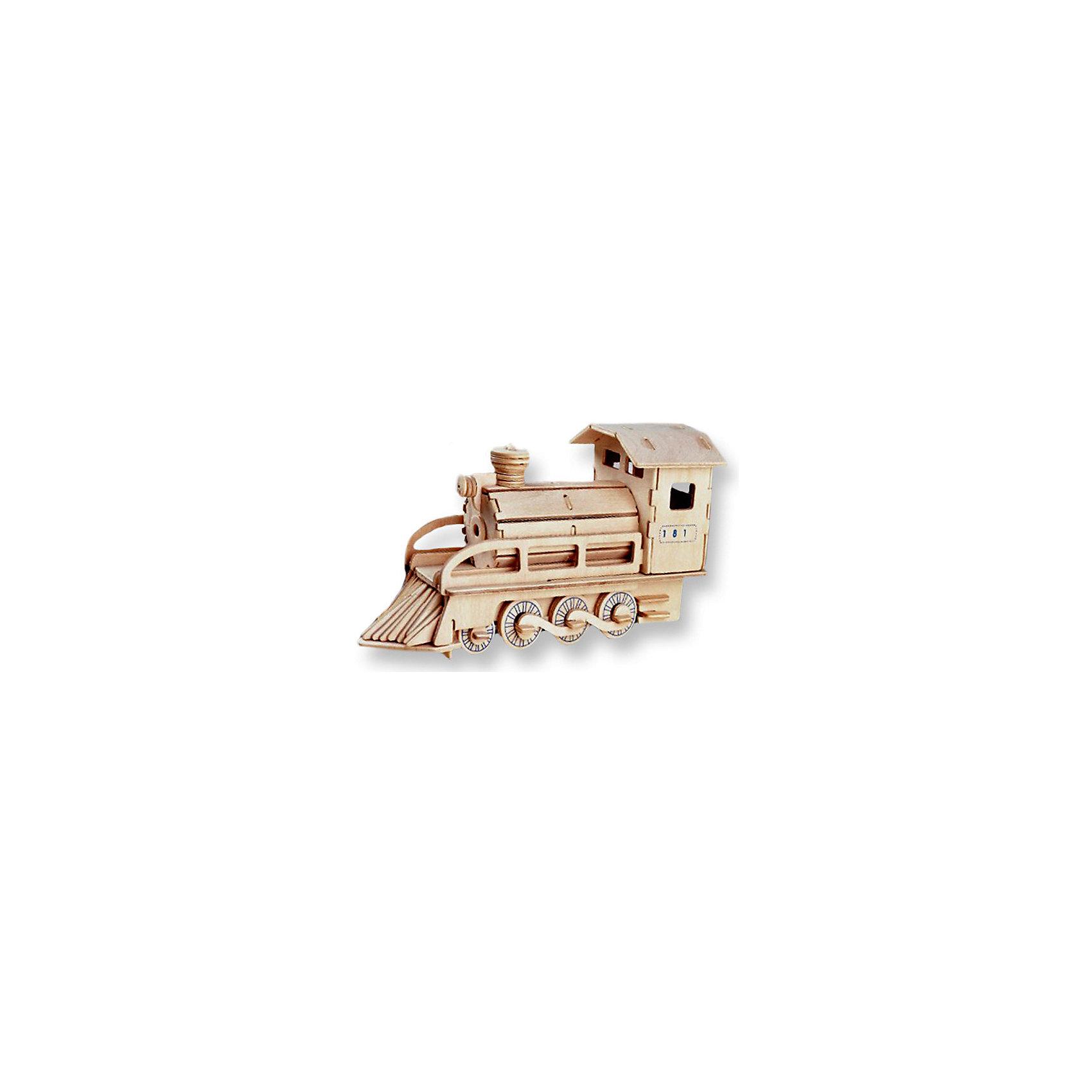 Локомотив, Мир деревянных игрушекПорадовать любящего технику творческого ребенка - легко! Подарите ему этот набор, из которого можно самому сделать красивую деревянную фигуру. Для этого нужно выдавить из пластины с деталями элементы для сборки и соединить их. Из наборов получаются красивые очень реалистичные игрушки, которые могут стать украшением комнаты.<br>Собирая их, ребенок будет развивать пространственное мышление, память и мелкую моторику. А раскрашивая готовое произведение, дети научатся подбирать цвета и будут развивать художественные навыки. Этот набор произведен из качественных и безопасных для детей материалов - дерево тщательно обработано.<br><br>Дополнительная информация:<br><br>материал: дерево;<br>цвет: бежевый;<br>элементы: пластины с деталями для сборки, схема сборки;<br>размер упаковки: 23 х 18 см.<br><br>3D-пазл Локомотив от бренда Мир деревянных игрушек можно купить в нашем магазине.<br><br>Ширина мм: 350<br>Глубина мм: 50<br>Высота мм: 225<br>Вес г: 450<br>Возраст от месяцев: 36<br>Возраст до месяцев: 144<br>Пол: Унисекс<br>Возраст: Детский<br>SKU: 4969091