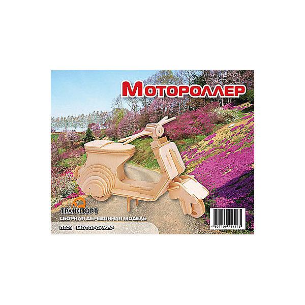 Мотороллер, Мир деревянных игрушекДеревянные модели<br>Отличный вариант подарка для любящего технику творческого ребенка - этот набор, из которого можно самому сделать красивую деревянную фигуру! Для этого нужно выдавить из пластины с деталями элементы для сборки и соединить их. Из наборов получаются красивые очень реалистичные игрушки, которые могут стать украшением комнаты.<br>Собирая их, ребенок будет развивать пространственное мышление, память и мелкую моторику. А раскрашивая готовое произведение, дети научатся подбирать цвета и будут развивать художественные навыки. Этот набор произведен из качественных и безопасных для детей материалов - дерево тщательно обработано.<br><br>Дополнительная информация:<br><br>материал: дерево;<br>цвет: бежевый;<br>элементы: пластины с деталями для сборки, схема сборки;<br>размер упаковки: 23 х 18 см.<br><br>3D-пазл Мотороллер от бренда Мир деревянных игрушек можно купить в нашем магазине.<br><br>Ширина мм: 225<br>Глубина мм: 30<br>Высота мм: 180<br>Вес г: 450<br>Возраст от месяцев: 36<br>Возраст до месяцев: 144<br>Пол: Унисекс<br>Возраст: Детский<br>SKU: 4969106