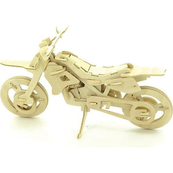 Кроссовый мотоцикл, Мир деревянных игрушекДеревянные модели<br>Порадовать любящего технику творческого ребенка - легко! Подарите ему этот набор, из которого можно самому сделать красивую деревянную фигуру. Для этого нужно выдавить из пластины с деталями элементы для сборки и соединить их. Из наборов получаются красивые очень реалистичные игрушки, которые могут стать украшением комнаты.<br>Собирая их, ребенок будет развивать пространственное мышление, память и мелкую моторику. А раскрашивая готовое произведение, дети научатся подбирать цвета и будут развивать художественные навыки. Этот набор произведен из качественных и безопасных для детей материалов - дерево тщательно обработано.<br><br>Дополнительная информация:<br><br>материал: дерево;<br>цвет: бежевый;<br>элементы: пластины с деталями для сборки, схема сборки;<br>размер упаковки: 23 х 18 см.<br><br>3D-пазл Кроссовый мотоцикл от бренда Мир деревянных игрушек можно купить в нашем магазине.<br><br>Ширина мм: 225<br>Глубина мм: 30<br>Высота мм: 180<br>Вес г: 450<br>Возраст от месяцев: 36<br>Возраст до месяцев: 144<br>Пол: Мужской<br>Возраст: Детский<br>SKU: 4969107