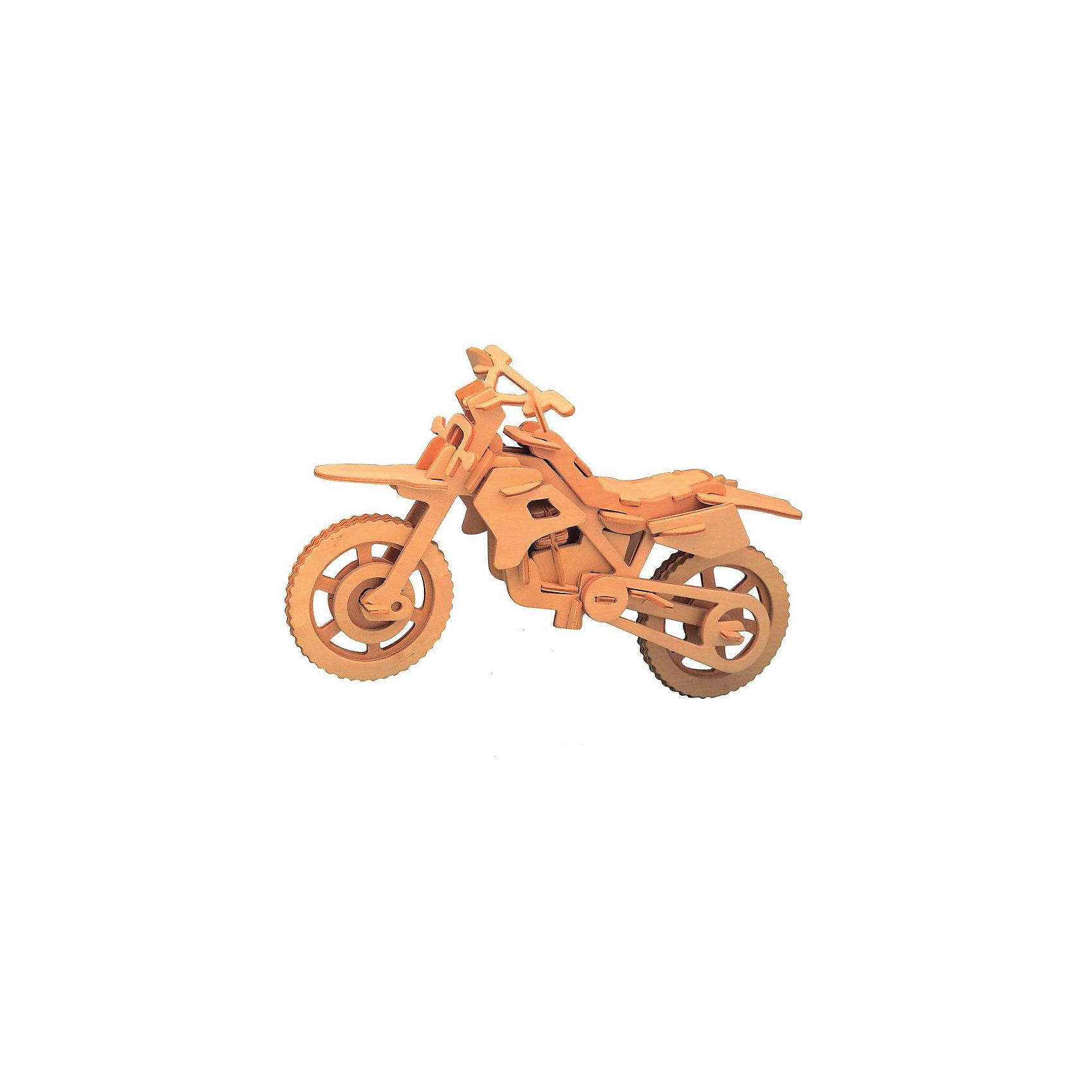 Гоночный мотоцикл, Мир деревянных игрушекДеревянные модели<br>Отличный вариант подарка для любящего технику творческого ребенка - этот набор, из которого можно самому сделать красивую деревянную фигуру! Для этого нужно выдавить из пластины с деталями элементы для сборки и соединить их. Из наборов получаются красивые очень реалистичные игрушки, которые могут стать украшением комнаты.<br>Собирая их, ребенок будет развивать пространственное мышление, память и мелкую моторику. А раскрашивая готовое произведение, дети научатся подбирать цвета и будут развивать художественные навыки. Этот набор произведен из качественных и безопасных для детей материалов - дерево тщательно обработано.<br><br>Дополнительная информация:<br><br>материал: дерево;<br>цвет: бежевый;<br>элементы: пластины с деталями для сборки, схема сборки;<br>размер упаковки: 23 х 18 см.<br><br>3D-пазл Гоночный мотоцикл от бренда Мир деревянных игрушек можно купить в нашем магазине.<br><br>Ширина мм: 350<br>Глубина мм: 50<br>Высота мм: 225<br>Вес г: 450<br>Возраст от месяцев: 36<br>Возраст до месяцев: 144<br>Пол: Мужской<br>Возраст: Детский<br>SKU: 4969108