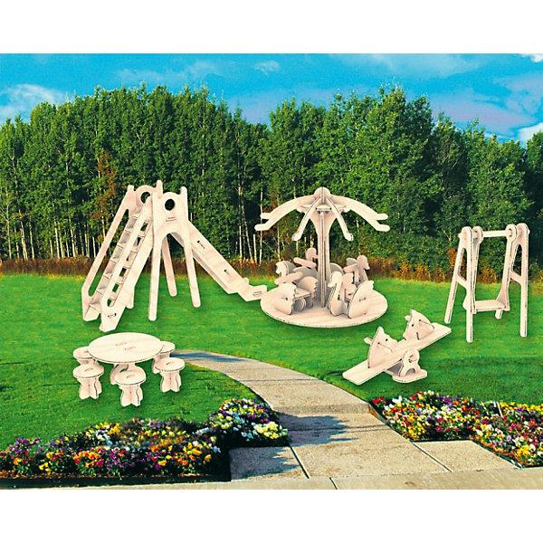 Детская площадка, Мир деревянных игрушекДеревянные модели<br>Удачный вариант подарка для творческого ребенка - этот набор, из которого можно самому сделать красивую деревянную фигуру! Для этого нужно выдавить из пластины с деталями элементы для сборки и соединить их. Из наборов получаются красивые очень реалистичные игрушки, которые могут стать украшением комнаты или участвовать в играх с куклами.<br>Собирая их, ребенок будет развивать пространственное мышление, память и мелкую моторику. А раскрашивая готовое произведение, дети научатся подбирать цвета и будут развивать художественные навыки. Этот набор произведен из качественных и безопасных для детей материалов - дерево тщательно обработано.<br><br>Дополнительная информация:<br><br>материал: дерево;<br>цвет: бежевый;<br>элементы: пластины с деталями для сборки, схема сборки;<br>размер упаковки: 23 х 18 см.<br><br>3D-пазл Детская площадка от бренда Мир деревянных игрушек можно купить в нашем магазине.<br><br>Ширина мм: 225<br>Глубина мм: 30<br>Высота мм: 180<br>Вес г: 450<br>Возраст от месяцев: 36<br>Возраст до месяцев: 144<br>Пол: Унисекс<br>Возраст: Детский<br>SKU: 4969123