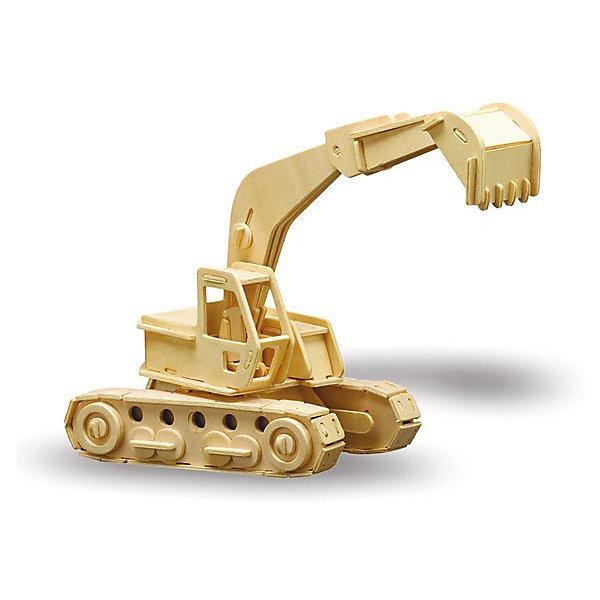 Экскаватор, Мир деревянных игрушекДеревянные модели<br>Отличный вариант подарка для любящего технику творческого ребенка - этот набор, из которого можно самому сделать красивую деревянную фигуру! Для этого нужно выдавить из пластины с деталями элементы для сборки и соединить их. Из наборов получаются красивые очень реалистичные игрушки, которые могут стать украшением комнаты.<br>Собирая их, ребенок будет развивать пространственное мышление, память и мелкую моторику. А раскрашивая готовое произведение, дети научатся подбирать цвета и будут развивать художественные навыки. Этот набор произведен из качественных и безопасных для детей материалов - дерево тщательно обработано.<br><br>Дополнительная информация:<br><br>материал: дерево;<br>цвет: бежевый;<br>элементы: пластины с деталями для сборки, схема сборки;<br>размер упаковки: 23 х 37 см.<br><br>3D-пазл Экскаватор от бренда Мир деревянных игрушек можно купить в нашем магазине.<br>Ширина мм: 350; Глубина мм: 50; Высота мм: 225; Вес г: 450; Возраст от месяцев: 36; Возраст до месяцев: 144; Пол: Мужской; Возраст: Детский; SKU: 4969130;