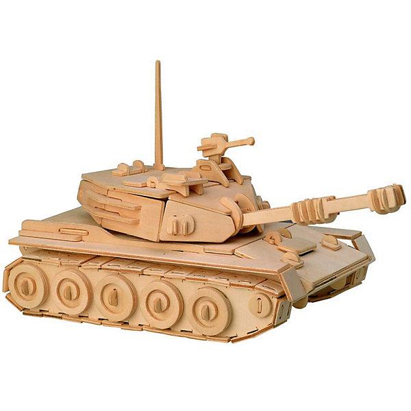 Танк, Мир деревянных игрушекДеревянные модели<br>Отличный вариант подарка для любящего военную технику творческого ребенка - этот набор, из которого можно самому сделать красивую деревянную фигуру! Для этого нужно выдавить из пластины с деталями элементы для сборки и соединить их. Из наборов получаются красивые очень реалистичные игрушки, которые могут стать украшением комнаты.<br>Собирая их, ребенок будет развивать пространственное мышление, память и мелкую моторику. А раскрашивая готовое произведение, дети научатся подбирать цвета и будут развивать художественные навыки. Этот набор произведен из качественных и безопасных для детей материалов - дерево тщательно обработано.<br><br>Дополнительная информация:<br><br>материал: дерево;<br>цвет: бежевый;<br>элементы: пластины с деталями для сборки, схема сборки;<br>размер упаковки: 23 х 18 см.<br><br>3D-пазл Танк от бренда Мир деревянных игрушек можно купить в нашем магазине.<br>Ширина мм: 350; Глубина мм: 50; Высота мм: 225; Вес г: 450; Возраст от месяцев: 36; Возраст до месяцев: 144; Пол: Мужской; Возраст: Детский; SKU: 4969137;