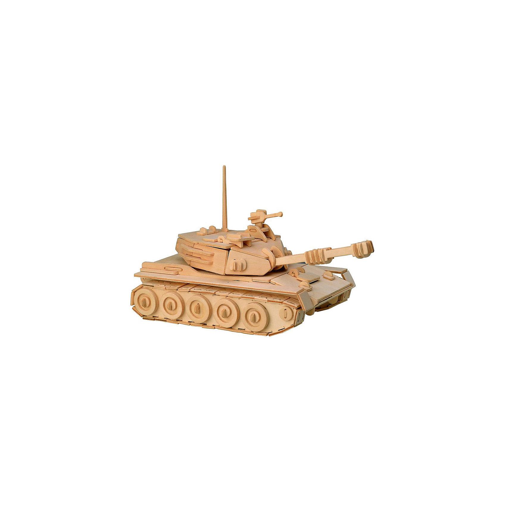 Танк, Мир деревянных игрушекОтличный вариант подарка для любящего военную технику творческого ребенка - этот набор, из которого можно самому сделать красивую деревянную фигуру! Для этого нужно выдавить из пластины с деталями элементы для сборки и соединить их. Из наборов получаются красивые очень реалистичные игрушки, которые могут стать украшением комнаты.<br>Собирая их, ребенок будет развивать пространственное мышление, память и мелкую моторику. А раскрашивая готовое произведение, дети научатся подбирать цвета и будут развивать художественные навыки. Этот набор произведен из качественных и безопасных для детей материалов - дерево тщательно обработано.<br><br>Дополнительная информация:<br><br>материал: дерево;<br>цвет: бежевый;<br>элементы: пластины с деталями для сборки, схема сборки;<br>размер упаковки: 23 х 18 см.<br><br>3D-пазл Танк от бренда Мир деревянных игрушек можно купить в нашем магазине.<br><br>Ширина мм: 350<br>Глубина мм: 50<br>Высота мм: 225<br>Вес г: 9999<br>Возраст от месяцев: 36<br>Возраст до месяцев: 144<br>Пол: Мужской<br>Возраст: Детский<br>SKU: 4969137