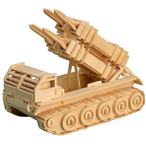 Ракетная установка, Мир деревянных игрушекДеревянные модели<br>Отличный вариант подарка для любящего военную технику творческого ребенка - этот набор, из которого можно самому сделать красивую деревянную фигуру! Для этого нужно выдавить из пластины с деталями элементы для сборки и соединить их. Из наборов получаются красивые очень реалистичные игрушки, которые могут стать украшением комнаты.<br>Собирая их, ребенок будет развивать пространственное мышление, память и мелкую моторику. А раскрашивая готовое произведение, дети научатся подбирать цвета и будут развивать художественные навыки. Этот набор произведен из качественных и безопасных для детей материалов - дерево тщательно обработано.<br><br>Дополнительная информация:<br><br>материал: дерево;<br>цвет: бежевый;<br>элементы: пластины с деталями для сборки, схема сборки;<br>размер упаковки: 23 х 37 см.<br><br>3D-пазл Ракетная установка от бренда Мир деревянных игрушек можно купить в нашем магазине.<br>Ширина мм: 350; Глубина мм: 50; Высота мм: 225; Вес г: 450; Возраст от месяцев: 36; Возраст до месяцев: 144; Пол: Мужской; Возраст: Детский; SKU: 4969139;