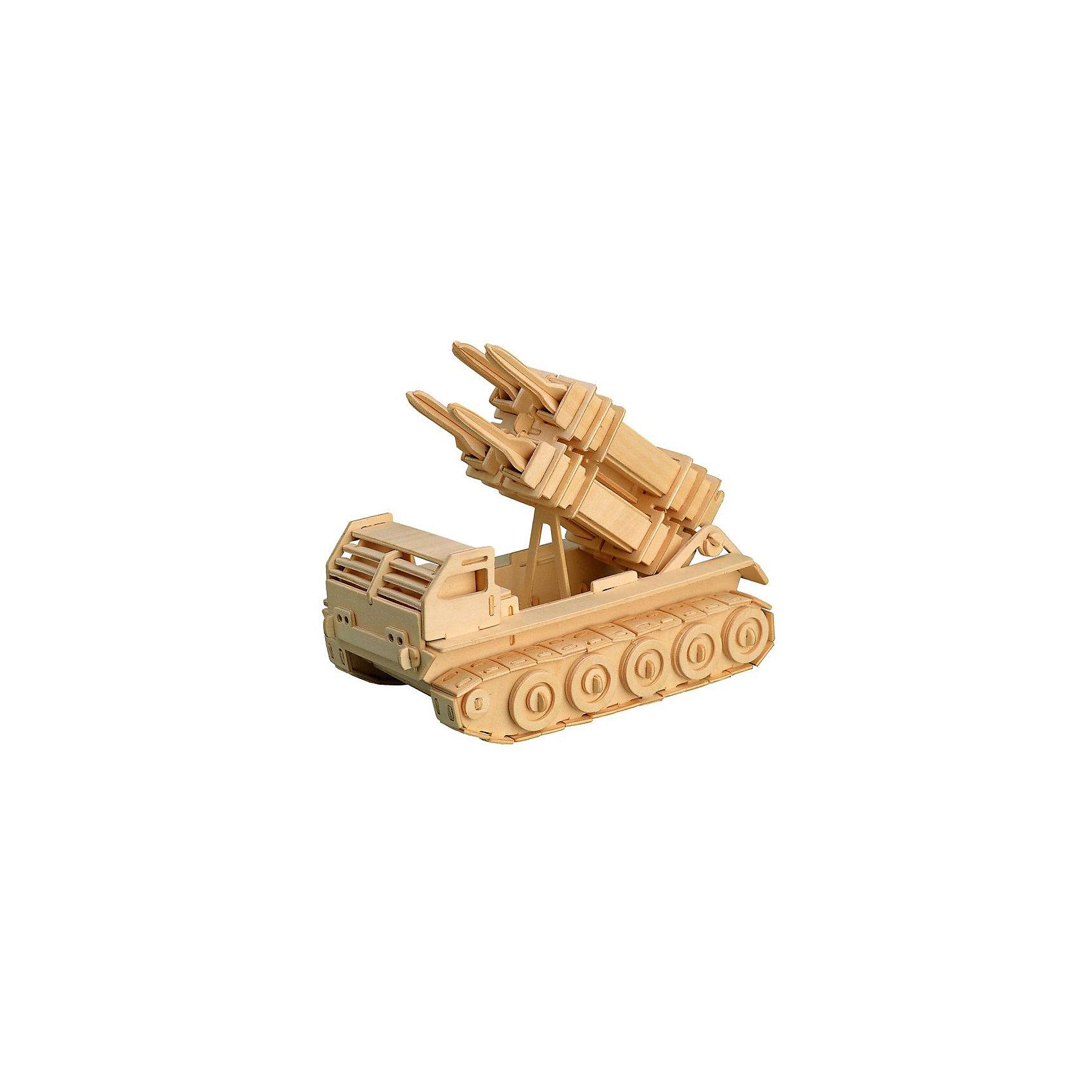 Ракетная установка, Мир деревянных игрушекДеревянные конструкторы<br>Отличный вариант подарка для любящего военную технику творческого ребенка - этот набор, из которого можно самому сделать красивую деревянную фигуру! Для этого нужно выдавить из пластины с деталями элементы для сборки и соединить их. Из наборов получаются красивые очень реалистичные игрушки, которые могут стать украшением комнаты.<br>Собирая их, ребенок будет развивать пространственное мышление, память и мелкую моторику. А раскрашивая готовое произведение, дети научатся подбирать цвета и будут развивать художественные навыки. Этот набор произведен из качественных и безопасных для детей материалов - дерево тщательно обработано.<br><br>Дополнительная информация:<br><br>материал: дерево;<br>цвет: бежевый;<br>элементы: пластины с деталями для сборки, схема сборки;<br>размер упаковки: 23 х 37 см.<br><br>3D-пазл Ракетная установка от бренда Мир деревянных игрушек можно купить в нашем магазине.<br><br>Ширина мм: 350<br>Глубина мм: 50<br>Высота мм: 225<br>Вес г: 450<br>Возраст от месяцев: 36<br>Возраст до месяцев: 144<br>Пол: Мужской<br>Возраст: Детский<br>SKU: 4969139