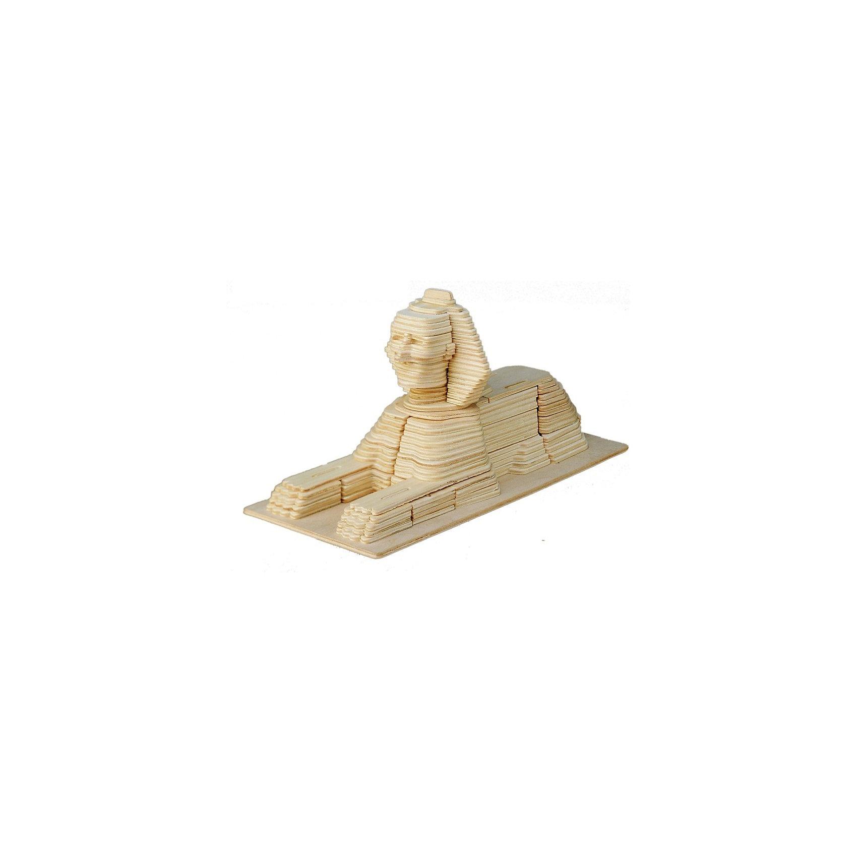 Сфинкс, Мир деревянных игрушекРукоделие<br>Отличный вариант подарка для любящего историю и архитектуру творческого ребенка - этот набор, из которого можно самому сделать красивую деревянную фигуру! Для этого нужно выдавить из пластины с деталями элементы для сборки и соединить их. Из наборов получаются красивые очень реалистичные игрушки, которые могут стать украшением комнаты.<br>Собирая их, ребенок будет развивать пространственное мышление, память и мелкую моторику. А раскрашивая готовое произведение, дети научатся подбирать цвета и будут развивать художественные навыки. Этот набор произведен из качественных и безопасных для детей материалов - дерево тщательно обработано.<br><br>Дополнительная информация:<br><br>материал: дерево;<br>цвет: бежевый;<br>элементы: пластины с деталями для сборки, схема сборки;<br>размер упаковки: 23 х 37 см.<br><br>3D-пазл Сфинкс от бренда Мир деревянных игрушек можно купить в нашем магазине.<br><br>Ширина мм: 350<br>Глубина мм: 50<br>Высота мм: 225<br>Вес г: 450<br>Возраст от месяцев: 36<br>Возраст до месяцев: 144<br>Пол: Унисекс<br>Возраст: Детский<br>SKU: 4969144