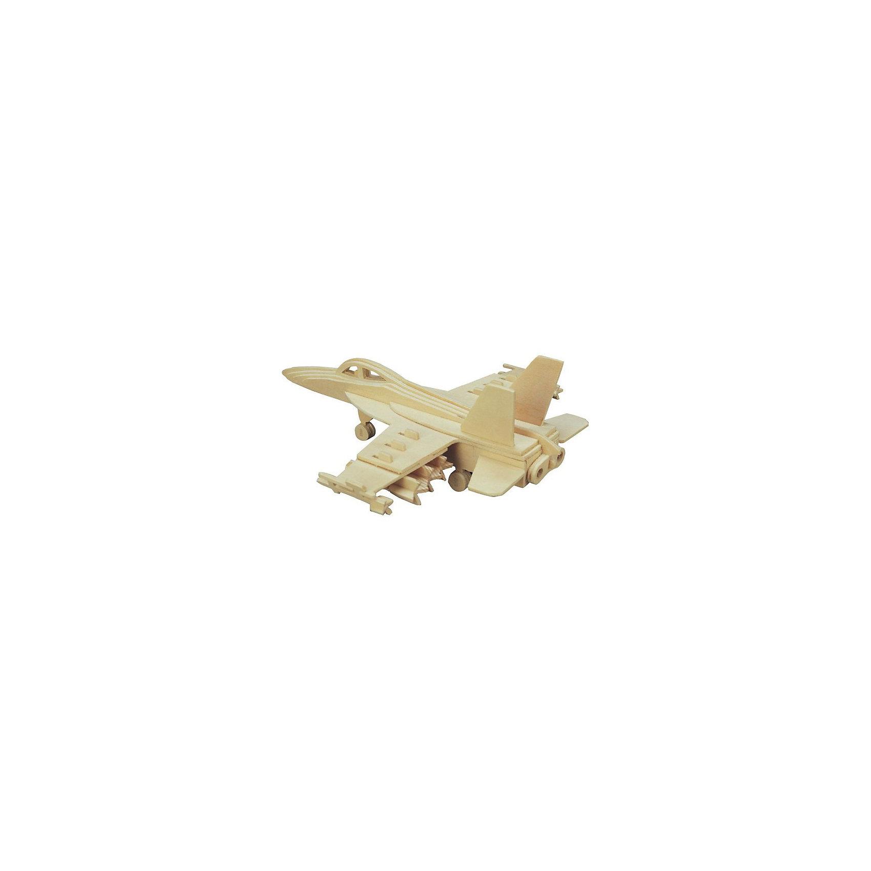 Самолет Ф-18, Мир деревянных игрушекРукоделие<br>Отличный вариант подарка для любящего технику творческого ребенка - этот набор, из которого можно самому сделать красивую деревянную фигуру! Для этого нужно выдавить из пластины с деталями элементы для сборки и соединить их. Из наборов получаются красивые очень реалистичные игрушки, которые могут стать украшением комнаты.<br>Собирая их, ребенок будет развивать пространственное мышление, память и мелкую моторику. А раскрашивая готовое произведение, дети научатся подбирать цвета и будут развивать художественные навыки. Этот набор произведен из качественных и безопасных для детей материалов - дерево тщательно обработано.<br><br>Дополнительная информация:<br><br>материал: дерево;<br>цвет: бежевый;<br>элементы: пластины с деталями для сборки, схема сборки;<br>размер упаковки: 23 х 18 см.<br><br>3D-пазл Самолет Ф-18 от бренда Мир деревянных игрушек можно купить в нашем магазине.<br><br>Ширина мм: 350<br>Глубина мм: 50<br>Высота мм: 225<br>Вес г: 450<br>Возраст от месяцев: 36<br>Возраст до месяцев: 144<br>Пол: Мужской<br>Возраст: Детский<br>SKU: 4969148