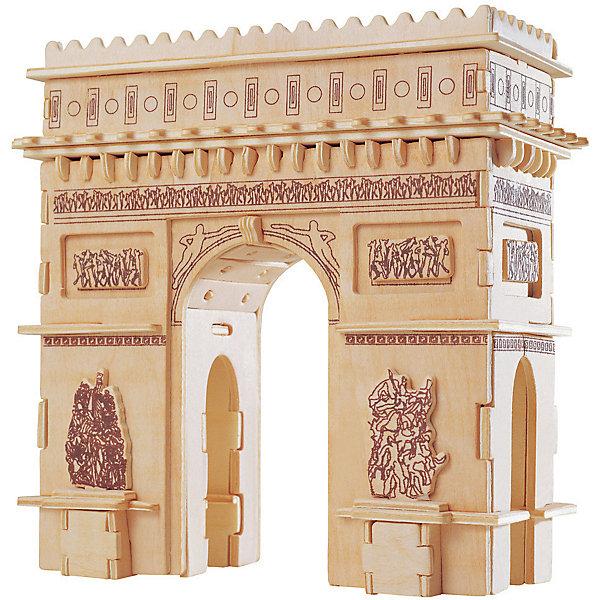 Триумфальная Арка, Мир деревянных игрушекДеревянные модели<br>Удачный вариант подарка для любящего архитектуру творческого ребенка - этот набор, из которого можно самому сделать красивую деревянную фигуру! Для этого нужно выдавить из пластины с деталями элементы для сборки и соединить их. Из наборов получаются красивые очень реалистичные игрушки, которые могут стать украшением комнаты.<br>Собирая их, ребенок будет развивать пространственное мышление, память и мелкую моторику. А раскрашивая готовое произведение, дети научатся подбирать цвета и будут развивать художественные навыки. Этот набор произведен из качественных и безопасных для детей материалов - дерево тщательно обработано.<br><br>Дополнительная информация:<br><br>материал: дерево;<br>цвет: бежевый;<br>элементы: пластины с деталями для сборки, схема сборки;<br>размер упаковки: 23 х 37 см.<br><br>3D-пазл Триумфальная Арка от бренда Мир деревянных игрушек можно купить в нашем магазине.<br><br>Ширина мм: 350<br>Глубина мм: 50<br>Высота мм: 225<br>Вес г: 450<br>Возраст от месяцев: 36<br>Возраст до месяцев: 144<br>Пол: Унисекс<br>Возраст: Детский<br>SKU: 4969175