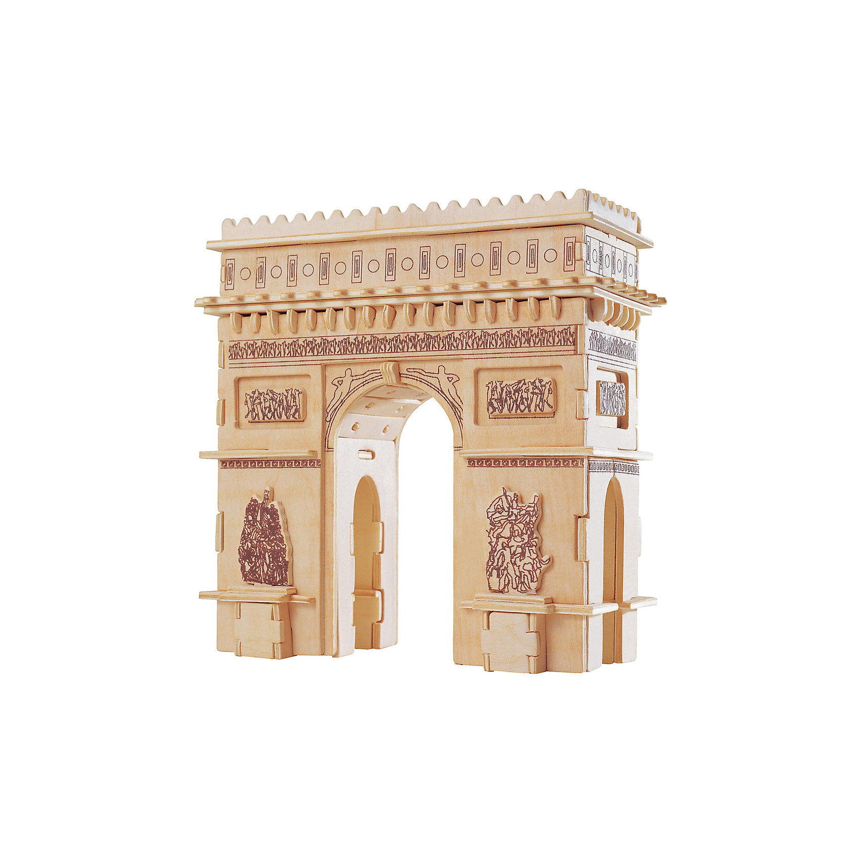 Триумфальная Арка, Мир деревянных игрушекДеревянные конструкторы<br>Удачный вариант подарка для любящего архитектуру творческого ребенка - этот набор, из которого можно самому сделать красивую деревянную фигуру! Для этого нужно выдавить из пластины с деталями элементы для сборки и соединить их. Из наборов получаются красивые очень реалистичные игрушки, которые могут стать украшением комнаты.<br>Собирая их, ребенок будет развивать пространственное мышление, память и мелкую моторику. А раскрашивая готовое произведение, дети научатся подбирать цвета и будут развивать художественные навыки. Этот набор произведен из качественных и безопасных для детей материалов - дерево тщательно обработано.<br><br>Дополнительная информация:<br><br>материал: дерево;<br>цвет: бежевый;<br>элементы: пластины с деталями для сборки, схема сборки;<br>размер упаковки: 23 х 37 см.<br><br>3D-пазл Триумфальная Арка от бренда Мир деревянных игрушек можно купить в нашем магазине.<br><br>Ширина мм: 350<br>Глубина мм: 50<br>Высота мм: 225<br>Вес г: 450<br>Возраст от месяцев: 36<br>Возраст до месяцев: 144<br>Пол: Унисекс<br>Возраст: Детский<br>SKU: 4969175