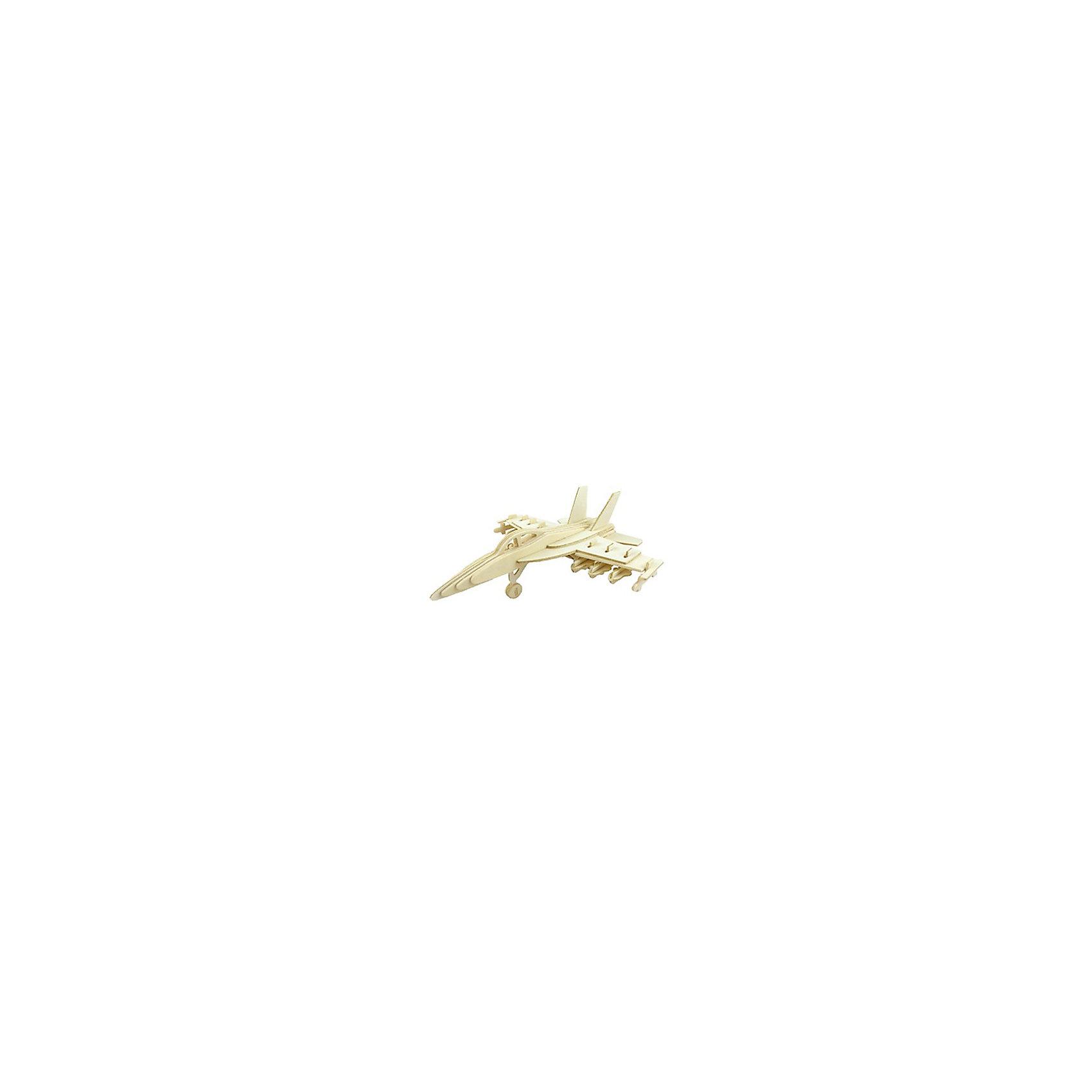 Самолет Су-27, Мир деревянных игрушекРукоделие<br>Отличный вариант подарка для любящего военную технику творческого ребенка - этот набор, из которого можно самому сделать красивую деревянную фигуру! Для этого нужно выдавить из пластины с деталями элементы для сборки и соединить их. Из наборов получаются красивые очень реалистичные игрушки, которые могут стать украшением комнаты.<br>Собирая их, ребенок будет развивать пространственное мышление, память и мелкую моторику. А раскрашивая готовое произведение, дети научатся подбирать цвета и будут развивать художественные навыки. Этот набор произведен из качественных и безопасных для детей материалов - дерево тщательно обработано.<br><br>Дополнительная информация:<br><br>материал: дерево;<br>цвет: бежевый;<br>элементы: пластины с деталями для сборки, схема сборки;<br>размер упаковки: 23 х 18 см.<br><br>3D-пазл Самолет Су-27 от бренда Мир деревянных игрушек можно купить в нашем магазине.<br><br>Ширина мм: 350<br>Глубина мм: 50<br>Высота мм: 225<br>Вес г: 450<br>Возраст от месяцев: 36<br>Возраст до месяцев: 144<br>Пол: Мужской<br>Возраст: Детский<br>SKU: 4969195