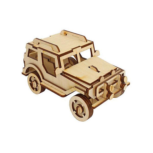 Внедорожник, Мир деревянных игрушекДеревянные модели<br>Отличный вариант подарка для любящего технику творческого ребенка - этот набор, из которого можно самому сделать красивую деревянную фигуру! Для этого нужно выдавить из пластины с деталями элементы для сборки и соединить их. Из наборов получаются красивые очень реалистичные игрушки, которые могут стать украшением комнаты.<br>Собирая их, ребенок будет развивать пространственное мышление, память и мелкую моторику. А раскрашивая готовое произведение, дети научатся подбирать цвета и будут развивать художественные навыки. Этот набор произведен из качественных и безопасных для детей материалов - дерево тщательно обработано.<br><br>Дополнительная информация:<br><br>материал: дерево;<br>цвет: бежевый;<br>элементы: пластины с деталями для сборки, схема сборки;<br>размер упаковки: 23 х 37 см.<br><br>3D-пазл Внедорожник от бренда Мир деревянных игрушек можно купить в нашем магазине.<br>Ширина мм: 350; Глубина мм: 50; Высота мм: 225; Вес г: 350; Возраст от месяцев: 36; Возраст до месяцев: 144; Пол: Мужской; Возраст: Детский; SKU: 4969206;