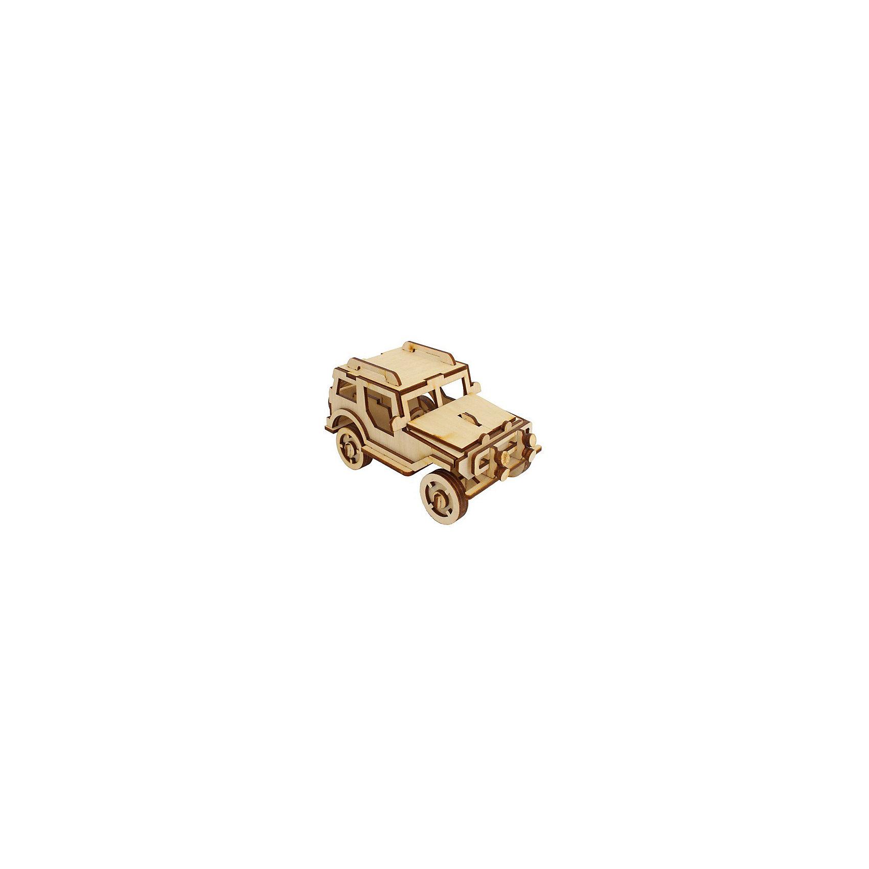 Внедорожник, Мир деревянных игрушекДеревянные конструкторы<br>Отличный вариант подарка для любящего технику творческого ребенка - этот набор, из которого можно самому сделать красивую деревянную фигуру! Для этого нужно выдавить из пластины с деталями элементы для сборки и соединить их. Из наборов получаются красивые очень реалистичные игрушки, которые могут стать украшением комнаты.<br>Собирая их, ребенок будет развивать пространственное мышление, память и мелкую моторику. А раскрашивая готовое произведение, дети научатся подбирать цвета и будут развивать художественные навыки. Этот набор произведен из качественных и безопасных для детей материалов - дерево тщательно обработано.<br><br>Дополнительная информация:<br><br>материал: дерево;<br>цвет: бежевый;<br>элементы: пластины с деталями для сборки, схема сборки;<br>размер упаковки: 23 х 37 см.<br><br>3D-пазл Внедорожник от бренда Мир деревянных игрушек можно купить в нашем магазине.<br><br>Ширина мм: 350<br>Глубина мм: 50<br>Высота мм: 225<br>Вес г: 350<br>Возраст от месяцев: 36<br>Возраст до месяцев: 144<br>Пол: Мужской<br>Возраст: Детский<br>SKU: 4969206