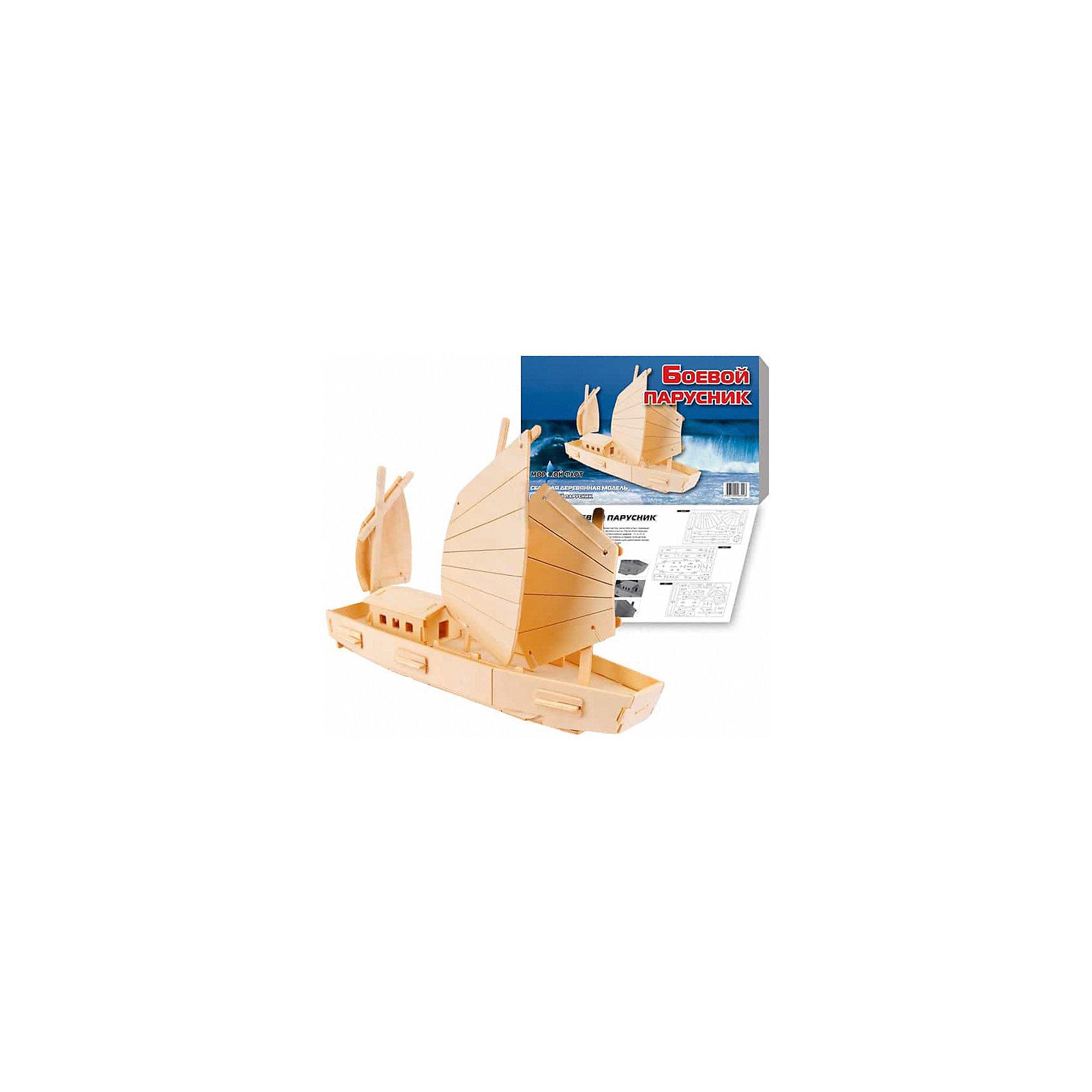 Боевой парусник, Мир деревянных игрушекОтличный  вариант подарка для любящего морские суда творческого ребенка - этот набор, из которого можно самому сделать красивую деревянную фигуру! Для этого нужно выдавить из пластины с деталями элементы для сборки и соединить их. Из наборов получаются красивые очень реалистичные игрушки, которые могут стать украшением комнаты.<br>Собирая их, ребенок будет развивать пространственное мышление, память и мелкую моторику. А раскрашивая готовое произведение, дети научатся подбирать цвета и будут развивать художественные навыки. Этот набор произведен из качественных и безопасных для детей материалов - дерево тщательно обработано.<br><br>Дополнительная информация:<br><br>материал: дерево;<br>цвет: бежевый;<br>элементы: пластины с деталями для сборки, схема сборки;<br>размер упаковки: 23 х 37 см.<br><br>3D-пазл Боевой парусник от бренда Мир деревянных игрушек можно купить в нашем магазине.<br><br>Ширина мм: 350<br>Глубина мм: 50<br>Высота мм: 225<br>Вес г: 450<br>Возраст от месяцев: 36<br>Возраст до месяцев: 144<br>Пол: Унисекс<br>Возраст: Детский<br>SKU: 4969211