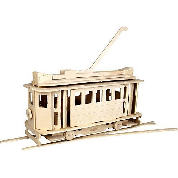 Трамвай, Мир деревянных игрушекДеревянные модели<br>Удачный вариант подарка для творческого ребенка - этот набор, из которого можно самому сделать красивую деревянную фигуру! Для этого нужно выдавить из пластины с деталями элементы для сборки и соединить их. Из наборов получаются красивые очень реалистичные игрушки, которые могут стать украшением комнаты.<br>Собирая их, ребенок будет развивать пространственное мышление, память и мелкую моторику. А раскрашивая готовое произведение, дети научатся подбирать цвета и будут развивать художественные навыки. Этот набор произведен из качественных и безопасных для детей материалов - дерево тщательно обработано.<br><br>Дополнительная информация:<br><br>материал: дерево;<br>цвет: бежевый;<br>элементы: пластины с деталями для сборки, схема сборки;<br>размер упаковки: 23 х 18 см.<br><br>3D-пазл Трамвай от бренда Мир деревянных игрушек можно купить в нашем магазине.<br>Ширина мм: 350; Глубина мм: 50; Высота мм: 225; Вес г: 450; Возраст от месяцев: 36; Возраст до месяцев: 144; Пол: Унисекс; Возраст: Детский; SKU: 4969233;