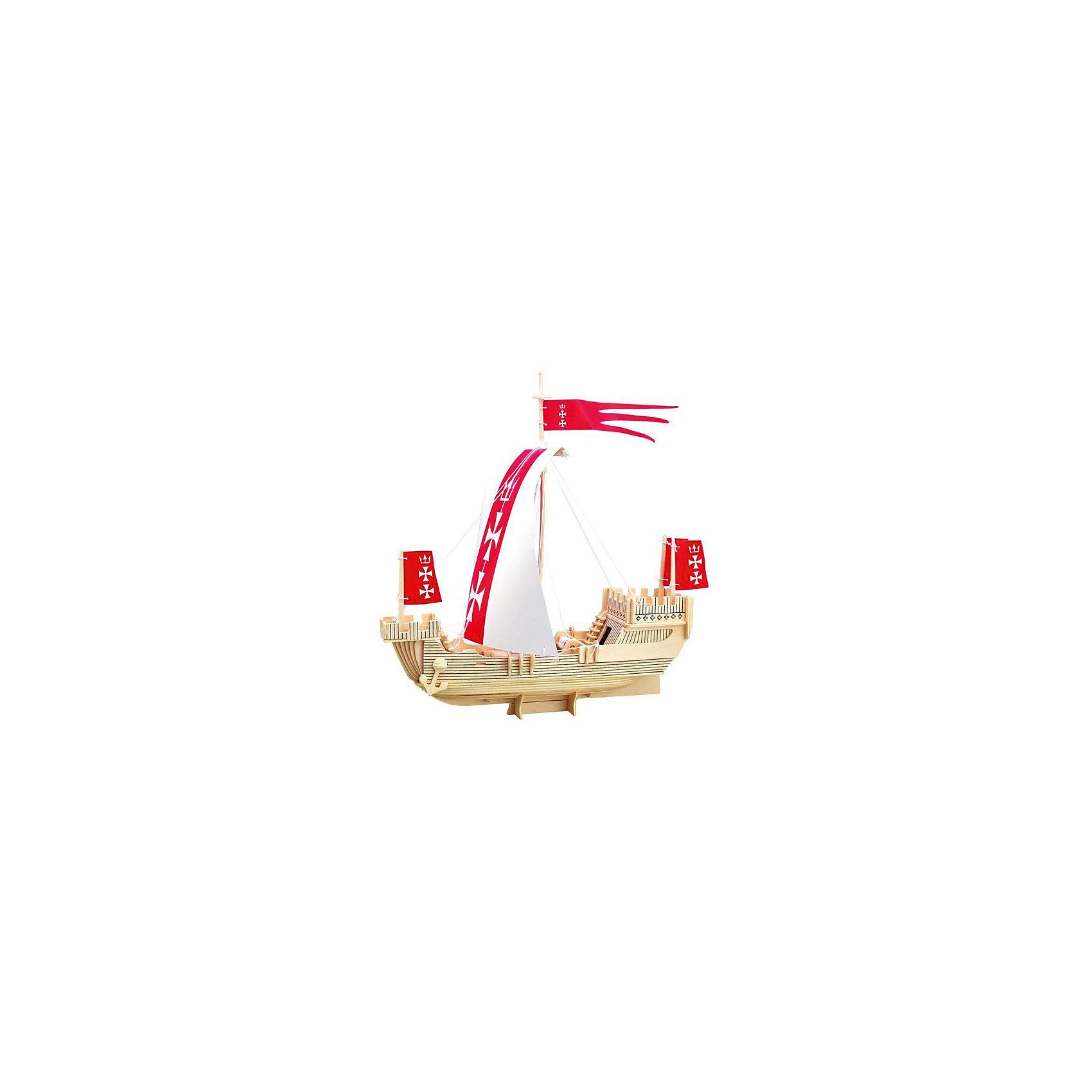 Корабль Ганзейского союза, Мир деревянных игрушекРукоделие<br>Порадовать творческого ребенка - легко! Закажите для него этот набор, из которого можно самому сделать красивую деревянную фигуру! Для этого нужно выдавить из пластины с деталями элементы для сборки и соединить их. Из наборов получаются красивые очень реалистичные игрушки, которые могут стать украшением комнаты.<br>Собирая их, ребенок будет развивать пространственное мышление, память и мелкую моторику. А раскрашивая готовое произведение, дети научатся подбирать цвета и будут развивать художественные навыки. Этот набор произведен из качественных и безопасных для детей материалов - дерево тщательно обработано.<br><br>Дополнительная информация:<br><br>материал: дерево;<br>цвет: бежевый;<br>элементы: пластины с деталями для сборки, схема сборки;<br>размер упаковки: 23 х 37 см.<br><br>3D-пазл Корабль Ганзейского союза от бренда Мир деревянных игрушек можно купить в нашем магазине.<br><br>Ширина мм: 350<br>Глубина мм: 50<br>Высота мм: 225<br>Вес г: 450<br>Возраст от месяцев: 36<br>Возраст до месяцев: 144<br>Пол: Унисекс<br>Возраст: Детский<br>SKU: 4969237
