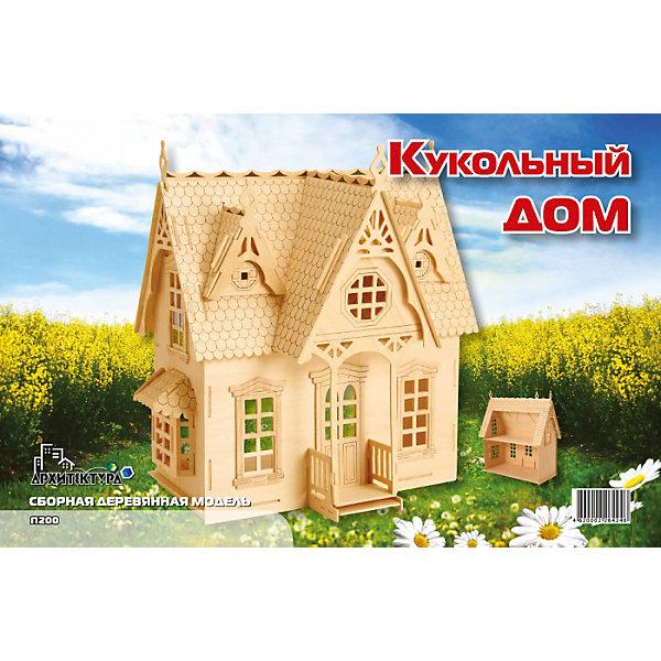 Кукольный дом, Мир деревянных игрушекДеревянные модели<br>Успешный вариант подарка для творческого ребенка - этот набор, из которого можно самому сделать красивую деревянную фигуру! Для этого нужно выдавить из пластины с деталями элементы для сборки и соединить их. Из наборов получаются красивые очень реалистичные игрушки, которые могут стать украшением комнаты или участвовать в играх с куклами.<br>Собирая их, ребенок будет развивать пространственное мышление, память и мелкую моторику. А раскрашивая готовое произведение, дети научатся подбирать цвета и будут развивать художественные навыки. Этот набор произведен из качественных и безопасных для детей материалов - дерево тщательно обработано.<br><br>Дополнительная информация:<br><br>материал: дерево;<br>цвет: бежевый;<br>элементы: пластины с деталями для сборки, схема сборки;<br>размер домика: 46 x 30 x 3 см.<br><br>3D-пазл Кукольный дом от бренда Мир деревянных игрушек можно купить в нашем магазине.<br><br>Ширина мм: 350<br>Глубина мм: 50<br>Высота мм: 225<br>Вес г: 350<br>Возраст от месяцев: 36<br>Возраст до месяцев: 144<br>Пол: Женский<br>Возраст: Детский<br>SKU: 4969239