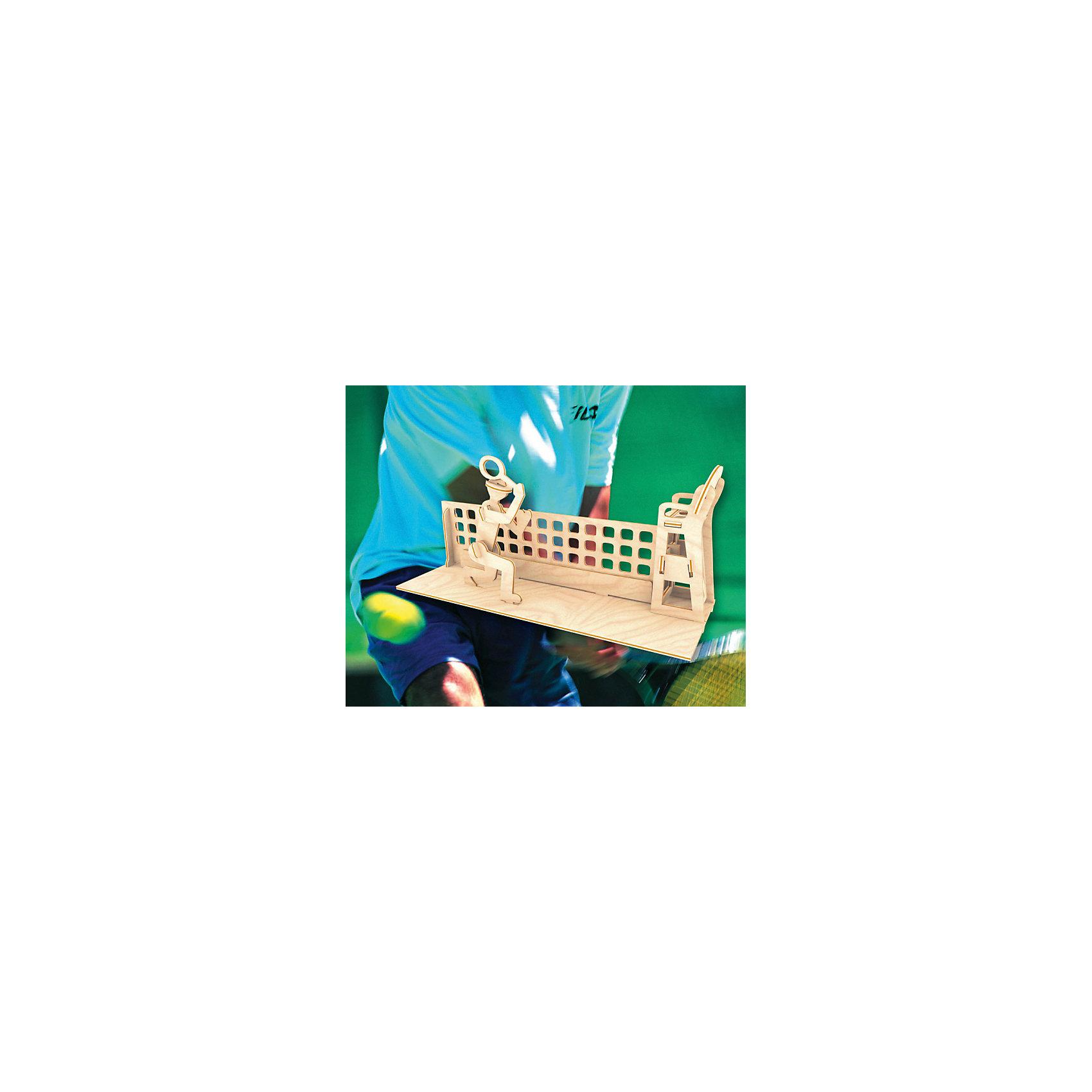 Теннисист, Мир деревянных игрушекРукоделие<br>Порадовать творческого ребенка или любителя спорта - легко! Закажите для него этот набор, из которого можно самому сделать красивую деревянную фигуру! Для этого нужно выдавить из пластины с деталями элементы для сборки и соединить их. Из наборов получаются красивые очень реалистичные игрушки, которые могут стать украшением комнаты.<br>Собирая их, ребенок будет развивать пространственное мышление, память и мелкую моторику. А раскрашивая готовое произведение, дети научатся подбирать цвета и будут развивать художественные навыки. Этот набор произведен из качественных и безопасных для детей материалов - дерево тщательно обработано.<br><br>Дополнительная информация:<br><br>материал: дерево;<br>цвет: бежевый;<br>элементы: пластины с деталями для сборки, схема сборки;<br>размер упаковки: 23 х 18 см.<br><br>3D-пазл Теннисист от бренда Мир деревянных игрушек можно купить в нашем магазине.<br><br>Ширина мм: 225<br>Глубина мм: 30<br>Высота мм: 180<br>Вес г: 450<br>Возраст от месяцев: 36<br>Возраст до месяцев: 144<br>Пол: Мужской<br>Возраст: Детский<br>SKU: 4969246