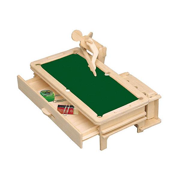 Бильярдист, Мир деревянных игрушекДеревянные модели<br>Вариант отличного подарка для любящего спорт творческого ребенка - этот набор, из которого можно самому сделать красивую деревянную фигуру! Для этого нужно выдавить из пластины с деталями элементы для сборки и соединить их. Из наборов получаются красивые очень реалистичные игрушки, которые могут стать украшением комнаты.<br>Собирая их, ребенок будет развивать пространственное мышление, память и мелкую моторику. А раскрашивая готовое произведение, дети научатся подбирать цвета и будут развивать художественные навыки. Этот набор произведен из качественных и безопасных для детей материалов - дерево тщательно обработано.<br><br>Дополнительная информация:<br><br>материал: дерево;<br>цвет: бежевый;<br>элементы: пластины с деталями, схема сборки;<br>размер упаковки: 23 х 18 см.<br><br>3D-пазл Бильярдист от бренда Мир деревянных игрушек можно купить в нашем магазине.<br>Ширина мм: 225; Глубина мм: 30; Высота мм: 180; Вес г: 450; Возраст от месяцев: 36; Возраст до месяцев: 144; Пол: Мужской; Возраст: Детский; SKU: 4969249;