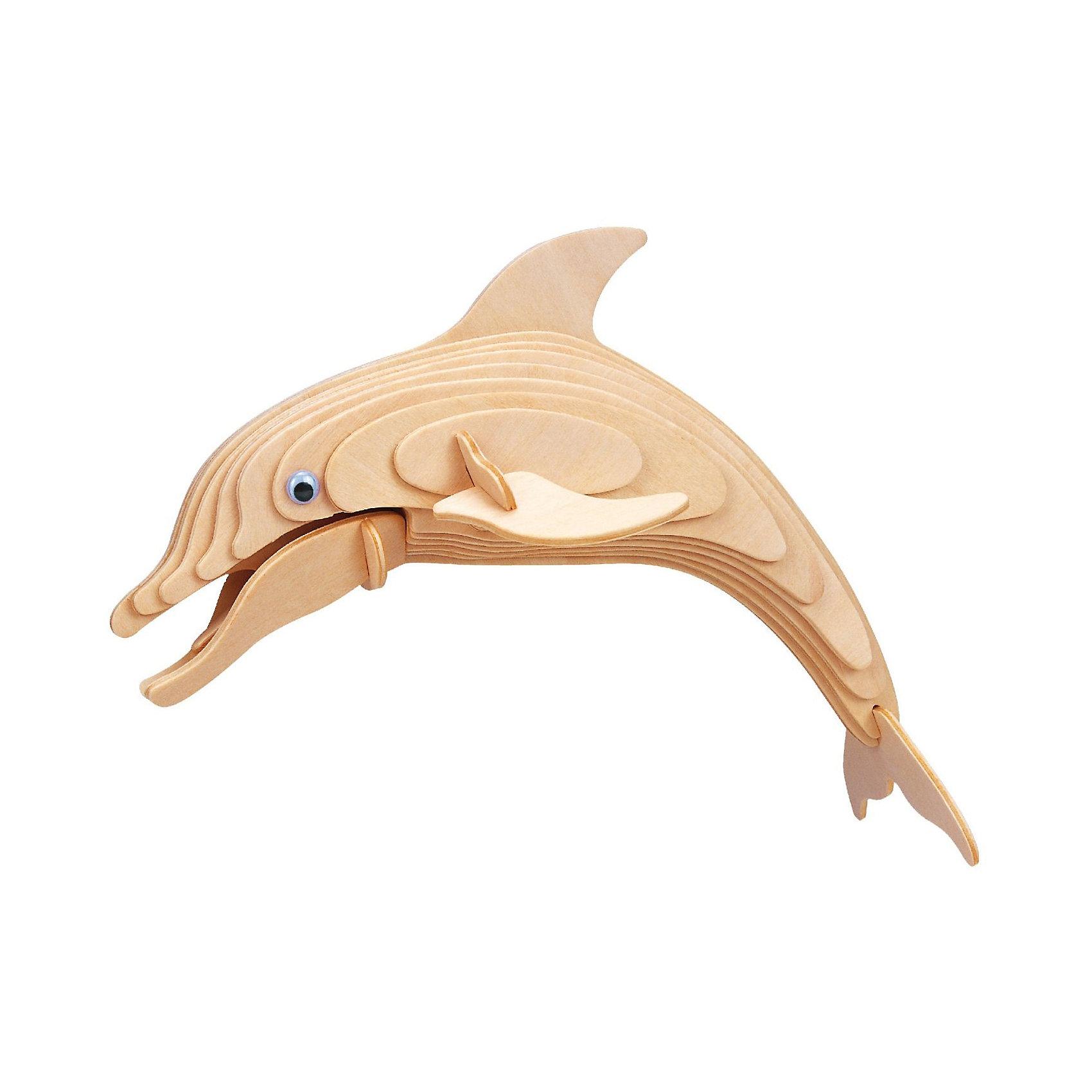 Дельфин (серия Ш), Мир деревянных игрушекДеревянные модели<br>Отличный вариант подарка для любящего животных творческого ребенка - этот набор, из которого можно самому сделать красивую деревянную фигуру! Для этого нужно выдавить из пластины с деталями элементы для сборки и соединить их. Из наборов получаются красивые очень реалистичные игрушки, которые могут стать украшением комнаты.<br>Собирая их, ребенок будет развивать пространственное мышление, память и мелкую моторику. А раскрашивая готовое произведение, дети научатся подбирать цвета и будут развивать художественные навыки. Этот набор произведен из качественных и безопасных для детей материалов - дерево тщательно обработано.<br><br>Дополнительная информация:<br><br>материал: дерево;<br>цвет: бежевый;<br>элементы: пластины с деталями, схема сборки;<br>размер упаковки: 23 х 37 см.<br><br>3D-пазл Дельфин (серия Ш) от бренда Мир деревянных игрушек можно купить в нашем магазине.<br><br>Ширина мм: 225<br>Глубина мм: 30<br>Высота мм: 180<br>Вес г: 450<br>Возраст от месяцев: 36<br>Возраст до месяцев: 144<br>Пол: Унисекс<br>Возраст: Детский<br>SKU: 4969255