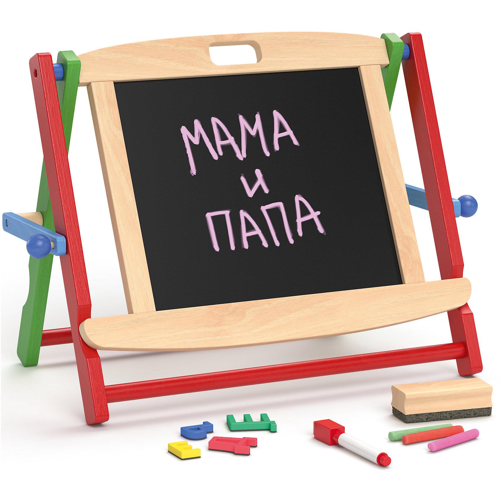 Школьная доска настольная, Мир деревянных игрушекИзучать буквы, цифры, чтение и счет можно дома! Поможет в этом специальная доска. Для дошколят разработаны такие наборы, с мелками, маркером и набором магнитных букв. Одна сторона - для мелков, вторая - магнитная. Доска легко складывается, не занимает много места.<br>С её помощью малыш будет запоминать алфавит, учиться писать и считать, рисовать, развивать пространственное мышление, память и мелкую моторику. Этот набор произведен из качественных и безопасных для детей материалов.<br><br>Дополнительная информация:<br><br>цвет: разноцветный;<br>материал: полимер, дерево;<br>комплектация: доска, мелки, маркер на водной основе, губка для стирания, набор магнитных букв;<br>размер: 50 х 40 х 9 см.<br><br>Школьную доску настольную от бренда Мир деревянных игрушек можно купить в нашем магазине.<br><br>Ширина мм: 400<br>Глубина мм: 950<br>Высота мм: 390<br>Вес г: 1800<br>Возраст от месяцев: 36<br>Возраст до месяцев: 72<br>Пол: Унисекс<br>Возраст: Детский<br>SKU: 4969273