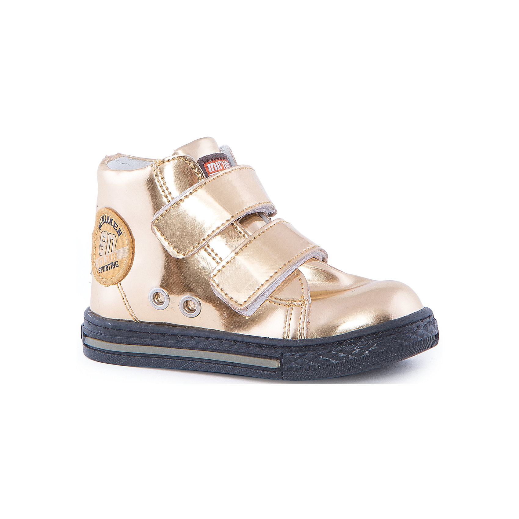 Ботинки для девочки MinimenОбувь для малышей<br>Стильные и практичные ботиночки от Minimen. Они имеют ортопедическую стельку и толстую подошву. Ботинки легко надевать и застегивать при помощи липучек. Кроме того, вы можете не переживать о промокших ногах, если ребенок пройдет по луже. Отлично подойдут для осени.<br><br>Дополнительная информация:<br>Стелька: супинатор<br>Цвет: золотой<br>Сезон: осень<br>Материал: кожа<br><br>Ботинки Minimen можно купить в нашем интернет-магазине.<br><br>Ширина мм: 262<br>Глубина мм: 176<br>Высота мм: 97<br>Вес г: 427<br>Цвет: бежевый<br>Возраст от месяцев: 15<br>Возраст до месяцев: 18<br>Пол: Женский<br>Возраст: Детский<br>Размер: 22,24,20,21,23<br>SKU: 4969978