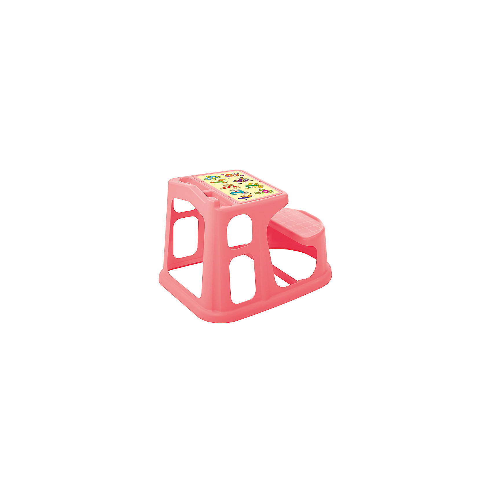 Стол парта для детей с декором 730*550*500, Пластишка, коралловыйСтол парта для детей с декором 730*550*500, Пластишка, коралловый – подойдет для маленькой комнаты.<br>Отлично вписывается в детскую благодаря своему компактному размеру и яркому красочному дизайну. Идеально подходит для занятий творчеством или обучением. Конструкция очень устойчивая, не переворачивается, если на нее облокотиться. Стол и стул удобны для детишек с самого маленького возраста. Столешница имеет углубление для карандашей и ручек. На стол наклеен алфавит.<br><br>Дополнительная информация: <br><br>- материал: полипропилен<br>- цвет: коралловый<br>- размер: 73х55х50 см<br><br>Стол парта для детей с декором 730*550*500, Пластишка, коралловый можно купить в нашем интернет магазине.<br><br>Ширина мм: 740<br>Глубина мм: 560<br>Высота мм: 645<br>Вес г: 2560<br>Возраст от месяцев: 24<br>Возраст до месяцев: 72<br>Пол: Женский<br>Возраст: Детский<br>SKU: 4972205