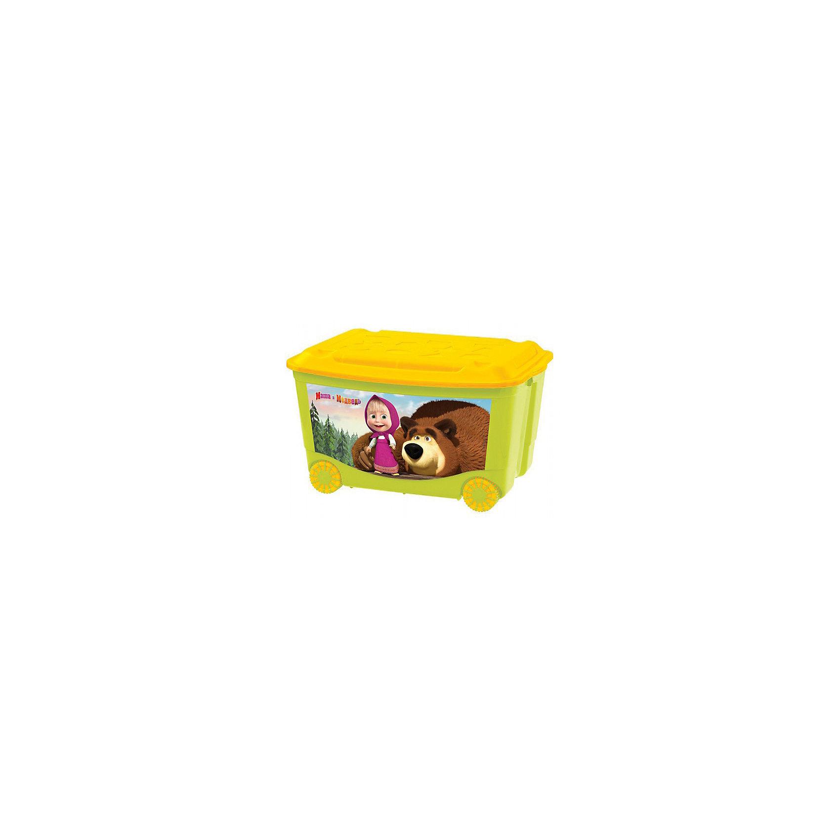 Пластишка Ящик для игрушек на колесах 580*390*335 Маша и Медведь, Пластишка, зелёный