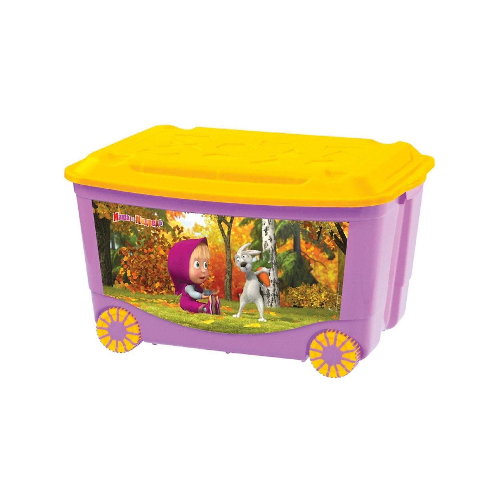 Пластишка Ящик для игрушек на колесах 580*390*335 Маша и Медведь, Пластишка, коралловый автодома на колесах бу купить в испании