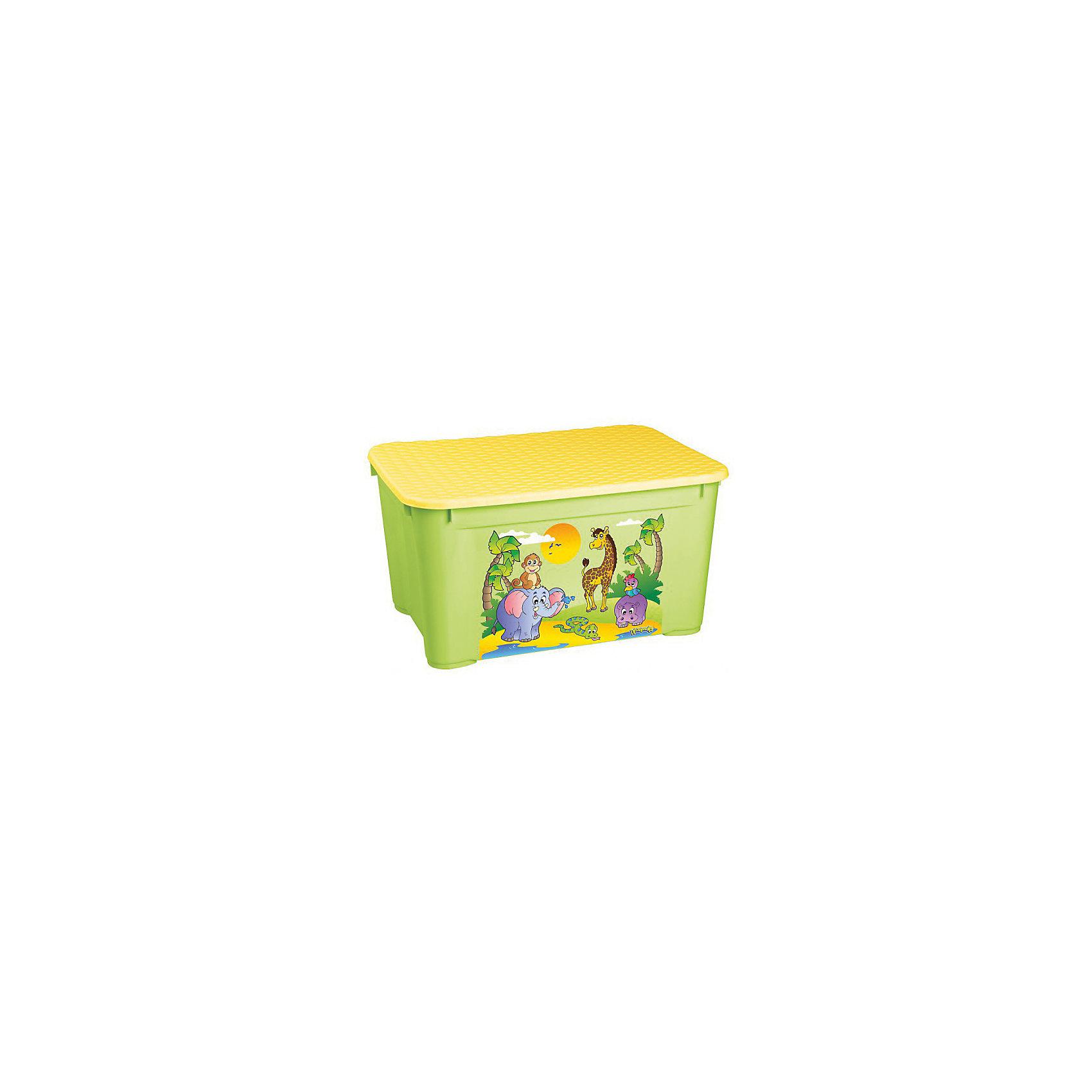 Пластишка Ящик для игрушек 555х390х290 мм, Пластишка, зеленый пластишка горка для купания детей пластишка