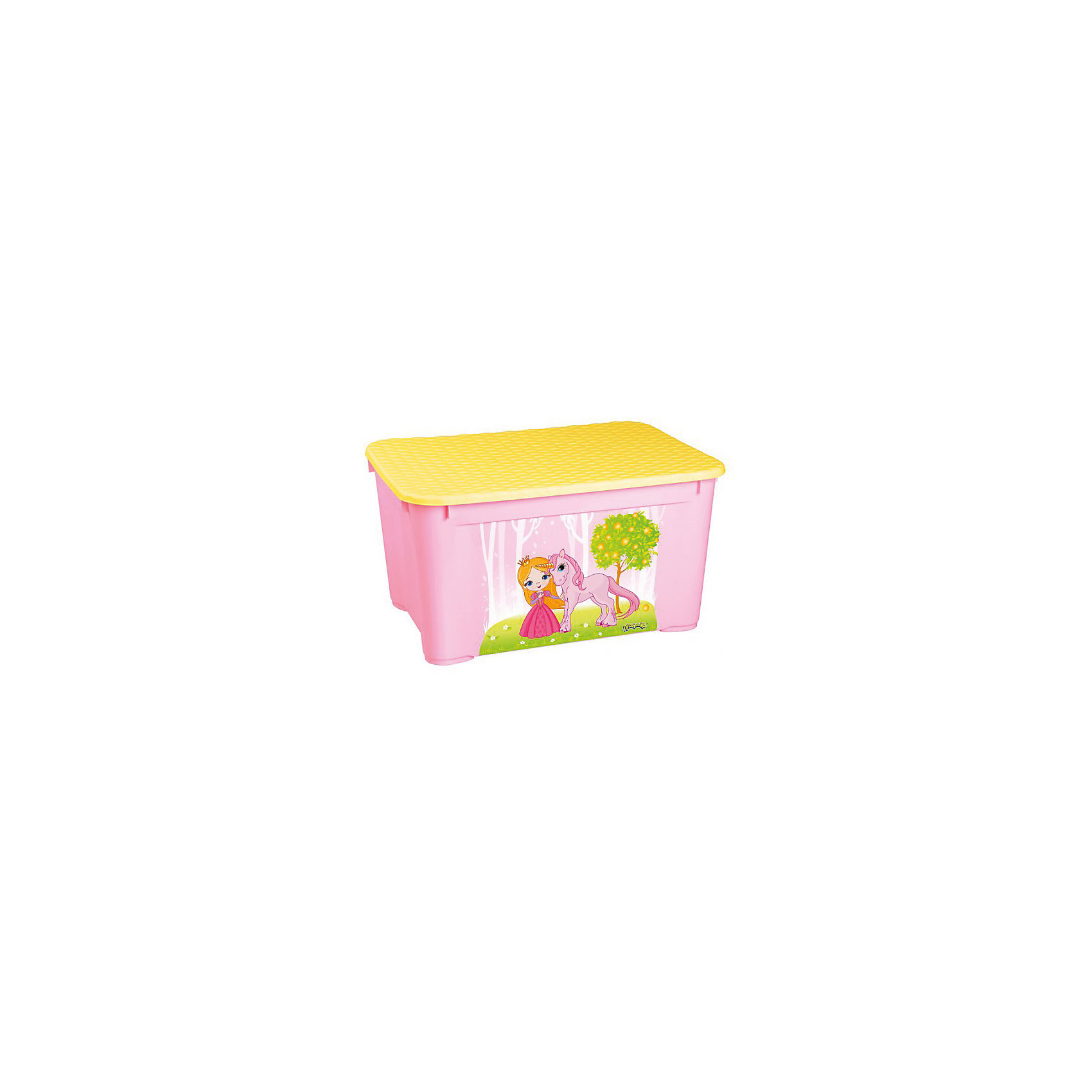Пластишка Ящик для игрушек 555х390х290 мм, Пластишка, розовый пластишка горка для купания детей пластишка