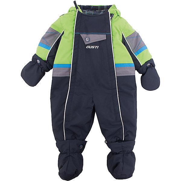 Комбинезон GUSTIВерхняя одежда<br>Комбинезон GUSTI (ГУСТИ) – это комфортный качественный комбинезон, который обеспечит надежную защиту Вашему малышу от холодов в зимний сезон.<br><br>Температурный режим: до -30  градусов. Степень утепления – высокая. <br><br>* Температурный режим указан приблизительно — необходимо, прежде всего, ориентироваться на ощущения ребенка. Температурный режим работает в случае соблюдения правила многослойности – использования флисовой поддевы и термобелья.<br><br>Зимний комбинезон от GUSTI (ГУСТИ) выполнен из плотного непромокаемого материала с защитной от влаги мембраной 5000 мм. Тань хорошо сохраняет тепло, отталкивает влагу и позволяет коже ребенка дышать. Утеплитель из тек-полифилла и флисовая внутренняя отделка дают возможность использовать комбинезон при очень низких температурах. Наличие двух молний облегчает одевание и раздевание ребенка. Несъемный капюшон изнутри отделан флисом. В комплекте отстегивающиеся варежки и пинетки. Цельный зимний комбинезон от GUSTI (ГУСТИ) не ограничивает движений и идеально защищает от ветра, холода и низких температур. Модель подходит для прогулок на морозе до -30 градусов.<br><br>Дополнительная информация:<br><br>- Сезон: зима<br>- Пол: мальчик<br>- Температурный режим до -30 градусов<br>- Цвет: зеленый, черный, серый<br>- Материал верха: shuss 5000мм (100% полиэстер)<br>- Наполнитель: тек-полифилл плотностью 283 гр/м (10 унций) 100% полиэстер<br>- Подкладка: флис (100% полиэстер)<br>- 2 молнии и фурнитура YKK<br>- Светоотражающие элементы 3М Scotchlite<br>- Пинетки и рукавички отстегиваются<br>- Уход: машинная стирка, легкие загрязнения можно смыть губкой без стирки<br><br>Комбинезон GUSTI (ГУСТИ) можно купить в нашем интернет-магазине.<br><br>Ширина мм: 356<br>Глубина мм: 10<br>Высота мм: 245<br>Вес г: 519<br>Цвет: зеленый<br>Возраст от месяцев: 6<br>Возраст до месяцев: 12<br>Пол: Мужской<br>Возраст: Детский<br>Размер: 80,90,86,74,68<br>SKU: 4972344