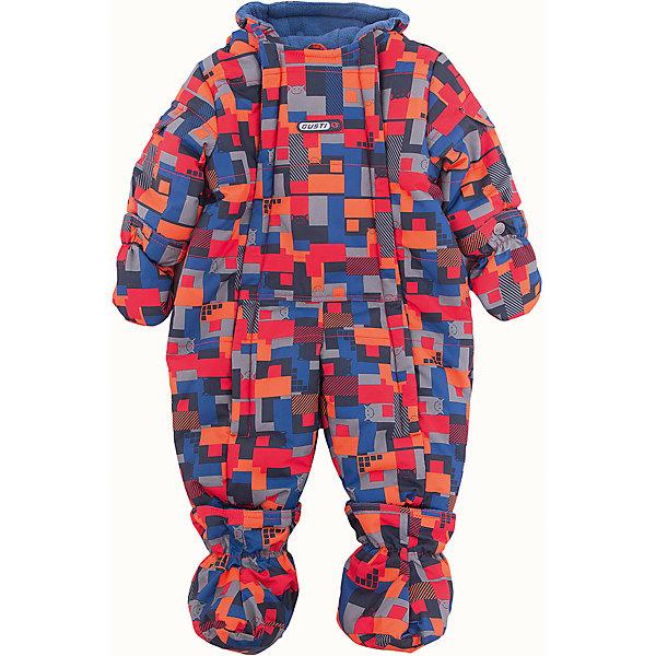 Комбинезон GUSTIВерхняя одежда<br>Комбинезон GUSTI (ГУСТИ) – это комфортный качественный комбинезон, который обеспечит надежную защиту Вашему малышу от холодов в зимний сезон.<br><br>Температурный режим: до -30  градусов. Степень утепления – высокая. <br><br>* Температурный режим указан приблизительно — необходимо, прежде всего, ориентироваться на ощущения ребенка. Температурный режим работает в случае соблюдения правила многослойности – использования флисовой поддевы и термобелья.<br><br>Зимний комбинезон от GUSTI (ГУСТИ) выполнен из плотного непромокаемого материала с защитной от влаги мембраной 5000 мм. Тань хорошо сохраняет тепло, отталкивает влагу и позволяет коже ребенка дышать. Утеплитель из тек-полифилла и флисовая внутренняя отделка дают возможность использовать комбинезон при очень низких температурах. Наличие двух молний облегчает одевание и раздевание ребенка. Несъемный капюшон изнутри отделан флисом. В комплекте отстегивающиеся варежки и пинетки. Цельный зимний комбинезон от GUSTI (ГУСТИ) не ограничивает движений и идеально защищает от ветра, холода и низких температур. Модель подходит для прогулок на морозе до -30 градусов.<br><br>Дополнительная информация:<br><br>- Сезон: зима<br>- Температурный режим до -30 градусов<br>- Цвет: мультиколор<br>- Материал верха: shuss 5000мм (100% полиэстер)<br>- Наполнитель: тек-полифилл плотностью 283 гр/м (10 унций) 100% полиэстер<br>- Подкладка: флис (100% полиэстер)<br>- 2 молнии и фурнитура YKK<br>- Светоотражающие элементы 3М Scotchlite<br>- Пинетки и рукавички отстегиваются<br>- Уход: машинная стирка, легкие загрязнения можно смыть губкой без стирки<br><br>Комбинезон GUSTI (ГУСТИ) можно купить в нашем интернет-магазине.<br><br>Ширина мм: 356<br>Глубина мм: 10<br>Высота мм: 245<br>Вес г: 519<br>Цвет: красный<br>Возраст от месяцев: 3<br>Возраст до месяцев: 6<br>Пол: Мужской<br>Возраст: Детский<br>Размер: 68,74,90,86,80<br>SKU: 4972350