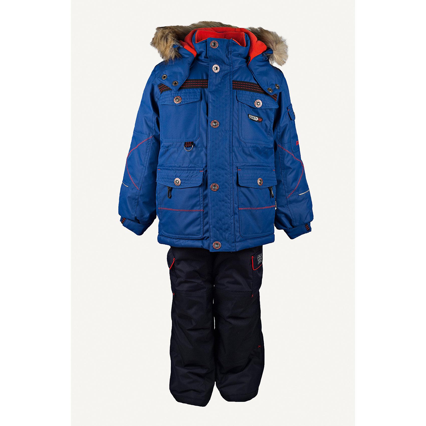 Комплект: куртка и полукомбинезон GUSTIКомплект: куртка и полукомбинезон GUSTI (ГУСТИ) – это идеальный вариант для суровой зимы с сильными морозами.<br><br>Температурный режим: до -30  градусов. Степень утепления – высокая. <br><br>* Температурный режим указан приблизительно — необходимо, прежде всего, ориентироваться на ощущения ребенка. Температурный режим работает в случае соблюдения правила многослойности – использования флисовой поддевы и термобелья.<br><br>Комплект от GUSTI состоит из куртки и полукомбинезона прямого кроя, выполненных из плотного непромокаемого материала с защитной от влаги мембраной 5000 мм. Тань хорошо сохраняет тепло, отталкивает влагу и позволяет коже ребенка дышать. Утеплитель из тек-полифилла и флисовая внутренняя отделка на груди и на спинке дают возможность использовать комплект при очень низких температурах. Куртка застегивается на молнию с ветрозащитной планкой, имеет четыре накладных кармана с клапанами, два внутренних кармана на молнии, снегозащитную юбку, трикотажные манжеты в рукавах, высокий ворот с защитой подбородка, отстёгивающийся прилегающий капюшон с флисовой подкладкой и оторочкой из искусственного меха. Низ рукавов регулируется с помощью липучек. Полукомбинезон застегивается на молнию, имеет два накладных кармана с клапанами, регулируемые лямки, снегозащитные гетры. Длина брючин регулируется (отворот с креплением на липе). Сзади, на коленях, и по низу брючин имеется дополнительный слой ткани Cordura Oxford (сверхстойкий полиэстер). До размера 6х (120 см) у полукомбинезона высокая грудка, в размерах 7 (122 см) -14 (164см) отстегивающаяся спинка, грудки нет.<br><br>Дополнительная информация:<br><br>- Пол: мальчик<br>- Цвет: синий, серый<br>- Узор: однотонный<br>- Температурный режим до -30 градусов<br>- Материал верха: куртка - shuss 5000мм (100% полиэстер); брюки - taslan 5000мм, накладки Cordura Oxford сзади, на коленях, и по низу брючин<br>- Наполнитель: куртка - тек-полифилл плотностью 283 гр/м (10 унций) 100% полиэсте