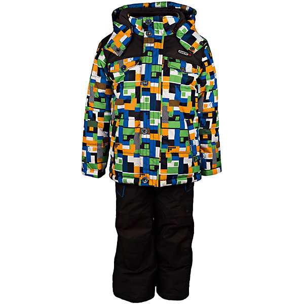 Комплект: куртка и полукомбинезон GUSTIВерхняя одежда<br>Комплект: куртка и полукомбинезон GUSTI (ГУСТИ) – это идеальный вариант для суровой зимы с сильными морозами.<br><br>Температурный режим: до -30  градусов. Степень утепления – высокая. <br><br>* Температурный режим указан приблизительно — необходимо, прежде всего, ориентироваться на ощущения ребенка. Температурный режим работает в случае соблюдения правила многослойности – использования флисовой поддевы и термобелья.<br><br>Комплект от GUSTI (ГУСТИ) состоит из куртки и полукомбинезона прямого кроя, выполненных из плотного непромокаемого материала с защитной от влаги мембраной 5000 мм. Тань хорошо сохраняет тепло, отталкивает влагу и позволяет коже ребенка дышать. Утеплитель из тек-полифилла и флисовая внутренняя отделка на груди и на спинке дают возможность использовать комплект при очень низких температурах. Куртка застегивается на молнию с ветрозащитной планкой, имеет два накладных кармана с клапанами и два внутренних кармана на застежках-молниях, снегозащитную юбку, трикотажные манжеты в рукавах, отстёгивающийся прилегающий капюшон с флисовой подкладкой. Полукомбинезон застегивается на молнию, имеет два накладных кармана с клапанами на липучках, регулируемые лямки, снегозащитные гетры. Длина брючин регулируется (отворот с креплением на липе). Сзади, на коленях, и по низу брючин имеется дополнительный слой ткани Cordura Oxford (сверхстойкий полиэстер). До размера 6х (120 см.) у полукомбинезона высокая грудка, в размерах 7 (122 см.) - 14 (164см) отстегивающаяся спинка, грудки нет. Модель подходит для прогулок на морозе до -30 градусов.<br><br>Дополнительная информация:<br><br>- Сезон: зима<br>- Пол: мальчик<br>- Цвет: мультиколор, черный<br>- Узор: мозаика<br>- Температурный режим до -30 градусов<br>- Материал верха: куртка - shuss 5000мм (100% полиэстер); брюки - taslan 5000мм, накладки Cordura Oxford сзади, на коленях, и по низу брючин<br>- Наполнитель: куртка - тек-полифилл плотностью 283 гр/м (10 унций) 1