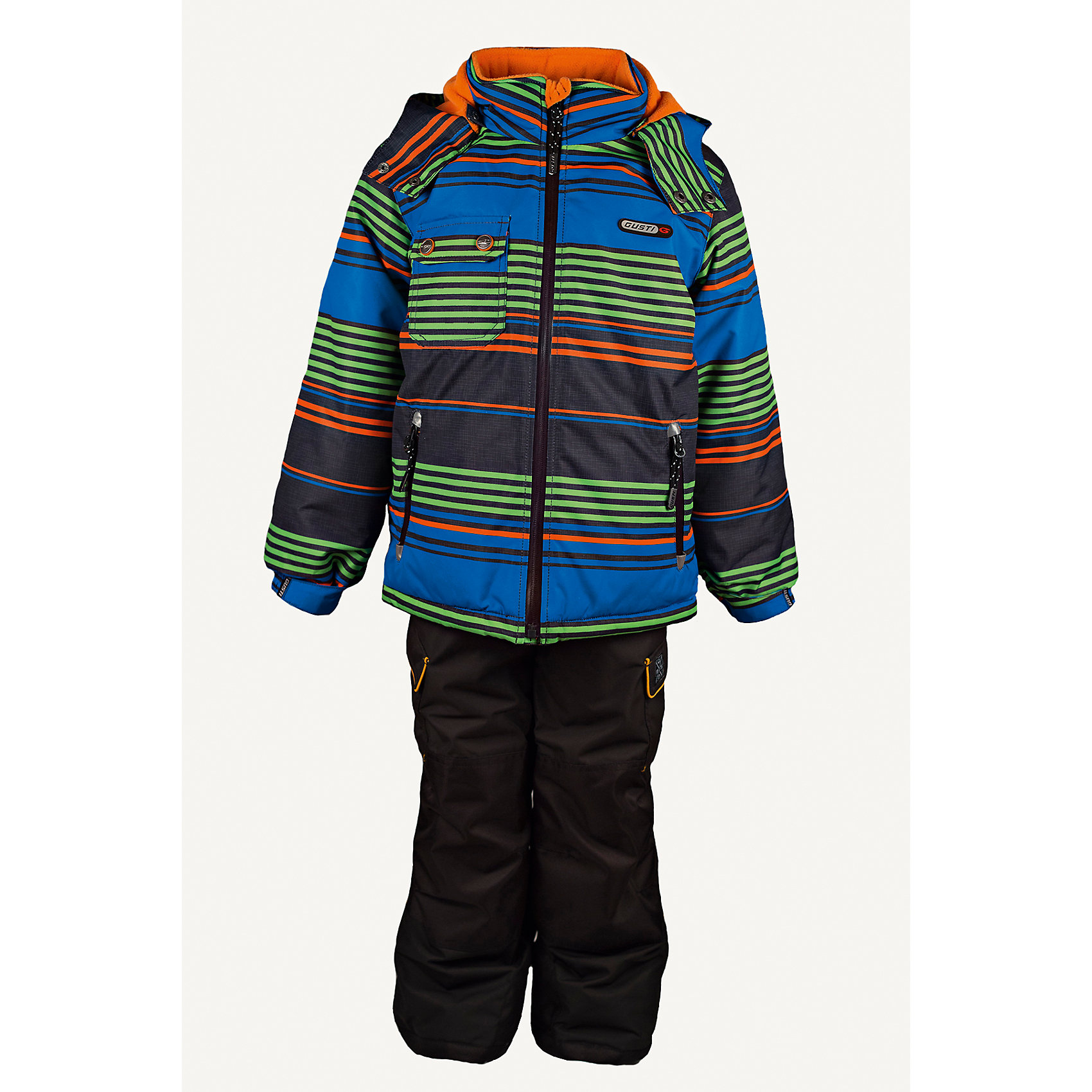 Комплект: куртка и полукомбинезон GUSTIВерхняя одежда<br>Комплект: куртка и полукомбинезон GUSTI (ГУСТИ) – это идеальный вариант для суровой зимы с сильными морозами.<br><br>Температурный режим: до -30  градусов. Степень утепления – высокая. <br><br>* Температурный режим указан приблизительно — необходимо, прежде всего, ориентироваться на ощущения ребенка. Температурный режим работает в случае соблюдения правила многослойности – использования флисовой поддевы и термобелья.<br><br>Комплект от GUSTI (ГУСТИ) состоит из куртки и полукомбинезона прямого кроя, выполненных из плотного непромокаемого материала с защитной от влаги мембраной 5000 мм. Тань хорошо сохраняет тепло, отталкивает влагу и позволяет коже ребенка дышать. Утеплитель из тек-полифилла и флисовая внутренняя отделка на груди и на спинке дают возможность использовать комплект при очень низких температурах. Куртка застегивается на молнию, имеет накладной карман с клапаном, два внутренних кармана на молнии, снегозащитную юбку, трикотажные манжеты в рукавах,  отстёгивающийся капюшон с флисовой подкладкой. Низ рукавов регулируется с помощью липучек. Полукомбинезон застегивается на молнию, имеет два накладных кармана с клапанами, регулируемые лямки, снегозащитные гетры. Длина брючин регулируется (отворот с креплением на липе). Сзади, на коленях, и по низу брючин имеется дополнительный слой ткани Cordura Oxford (сверхстойкий полиэстер). До размера 6х (120 см.) у полукомбинезона высокая грудка, в размерах 7 (122 см.) -14 (164см) отстегивающаяся спинка, грудки нет. Модель подходит для прогулок на морозе до -30 градусов.<br><br>Дополнительная информация:<br><br>- Сезон: зима<br>- Пол: мальчик<br>- Цвет: мультиколор, черный<br>- Узор: полоска<br>- Температурный режим до -30 градусов<br>- Материал верха: куртка - shuss 5000мм (100% полиэстер); брюки - taslan 5000мм, накладки Cordura Oxford сзади, на коленях, и по низу брючин<br>- Наполнитель: куртка - тек-полифилл плотностью 283 гр/м (10 унций) 100% полиэстер; брюки -