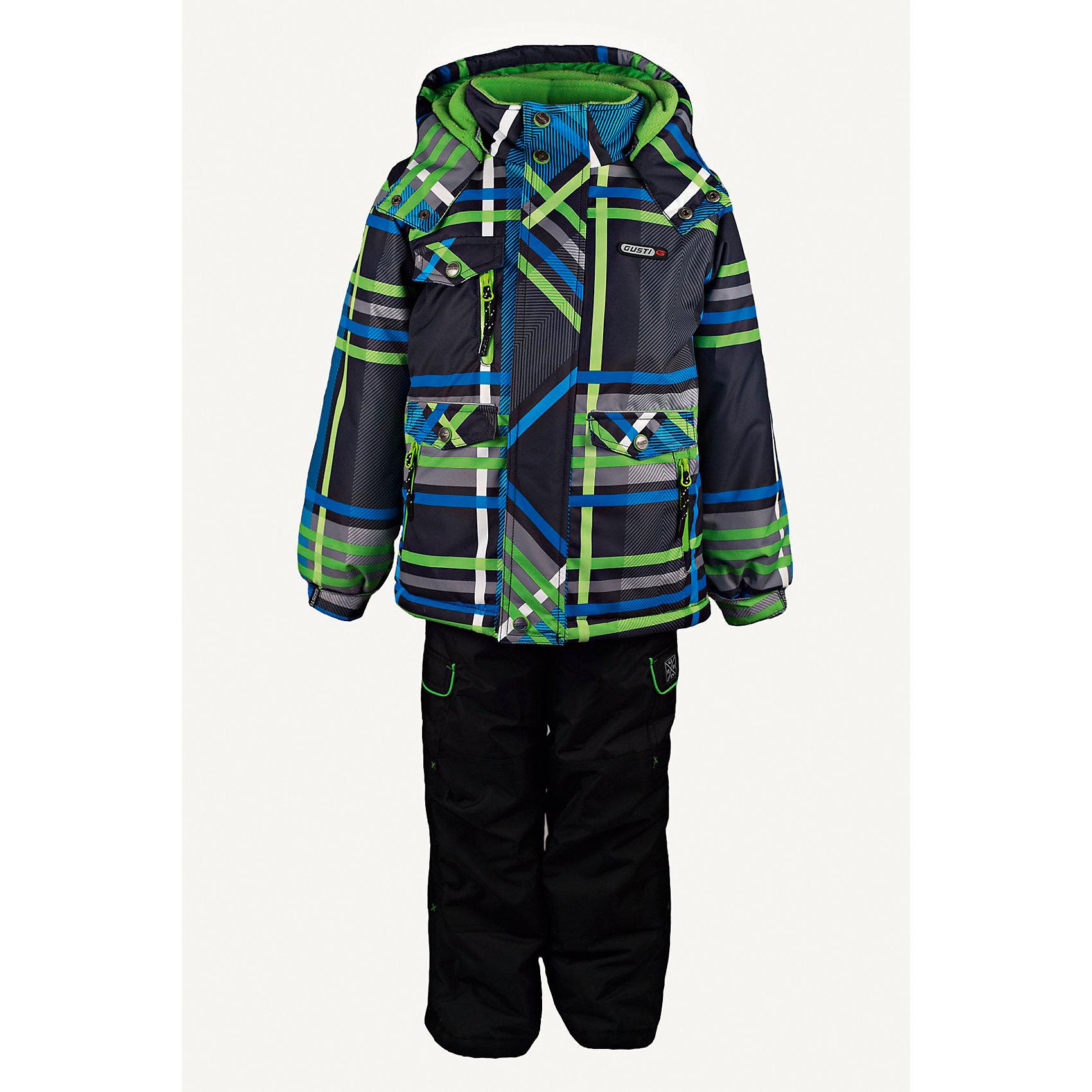 Комплект: куртка и полукомбинезон GUSTIКомплект: куртка и полукомбинезон GUSTI (ГУСТИ) – это идеальный вариант для суровой зимы с сильными морозами.<br><br>Температурный режим: до -30  градусов. Степень утепления – высокая. <br><br>* Температурный режим указан приблизительно — необходимо, прежде всего, ориентироваться на ощущения ребенка. Температурный режим работает в случае соблюдения правила многослойности – использования флисовой поддевы и термобелья.<br><br>Комплект от GUSTI (ГУСТИ) состоит из куртки и полукомбинезона прямого кроя, выполненных из плотного непромокаемого материала с защитной от влаги мембраной 5000 мм. Тань хорошо сохраняет тепло, отталкивает влагу и позволяет коже ребенка дышать. Утеплитель из тек-полифилла и флисовая внутренняя отделка на груди и на спинке дают возможность использовать комплект при очень низких температурах. Куртка застегивается на молнию с ветрозащитной планкой, имеет три внутренних кармана на застежках-молниях, снегозащитную юбку, трикотажные манжеты в рукавах, отстёгивающийся капюшон с флисовой подкладкой, высокий ворот с защитой подбородка. Низ рукавов регулируется с помощью липучек. Полукомбинезон застегивается на молнию, имеет два накладных кармана с клапанами на липучках, регулируемые лямки, снегозащитные гетры. Длина брючин регулируется (отворот с креплением на липе). Сзади, на коленях, и по низу брючин имеется дополнительный слой ткани Cordura Oxford (сверхстойкий полиэстер). До размера 6х (120 см.) у полукомбинезона высокая грудка, в размерах 7 (122 см.) - 14 (164см) отстегивающаяся спинка, грудки нет. Модель подходит для прогулок на морозе до -30 градусов.<br><br>Дополнительная информация:<br><br>- Сезон: зима<br>- Пол: мальчик<br>- Цвет: мультиколор<br>- Узор: полоска<br>- Температурный режим до -30 градусов<br>- Материал верха: куртка - shuss 5000мм (100% полиэстер); брюки - taslan 5000мм, накладки Cordura Oxford сзади, на коленях, и по низу брючин<br>- Наполнитель: куртка - тек-полифилл плотностью 283 гр/м (10 ун