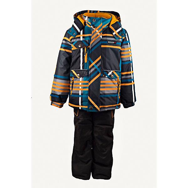 Комплект: куртка и полукомбинезон GUSTIВерхняя одежда<br>Комплект: куртка и полукомбинезон GUSTI (ГУСТИ) – это идеальный вариант для суровой зимы с сильными морозами.<br><br>Температурный режим: до -30  градусов. Степень утепления – высокая. <br><br>* Температурный режим указан приблизительно — необходимо, прежде всего, ориентироваться на ощущения ребенка. Температурный режим работает в случае соблюдения правила многослойности – использования флисовой поддевы и термобелья.<br><br>Комплект от GUSTI (ГУСТИ) состоит из куртки и полукомбинезона прямого кроя, выполненных из плотного непромокаемого материала с защитной от влаги мембраной 5000 мм. Тань хорошо сохраняет тепло, отталкивает влагу и позволяет коже ребенка дышать. Утеплитель из тек-полифилла и флисовая внутренняя отделка на груди и на спинке дают возможность использовать комплект при очень низких температурах. Куртка застегивается на молнию с ветрозащитной планкой, имеет три внутренних кармана на застежках-молниях, снегозащитную юбку, трикотажные манжеты в рукавах, отстёгивающийся капюшон с флисовой подкладкой, высокий ворот с защитой подбородка. Низ рукавов регулируется с помощью липучек. Полукомбинезон застегивается на молнию, имеет два накладных кармана с клапанами на липучках, регулируемые лямки, снегозащитные гетры. Длина брючин регулируется (отворот с креплением на липе). Сзади, на коленях, и по низу брючин имеется дополнительный слой ткани Cordura Oxford (сверхстойкий полиэстер). До размера 6х (120 см.) у полукомбинезона высокая грудка, в размерах 7 (122 см.) - 14 (164см) отстегивающаяся спинка, грудки нет. Модель подходит для прогулок на морозе до -30 градусов.<br><br>Дополнительная информация:<br><br>- Сезон: зима<br>- Пол: мальчик<br>- Цвет: мультиколор<br>- Узор: полоска<br>- Температурный режим до -30 градусов<br>- Материал верха: куртка - shuss 5000мм (100% полиэстер); брюки - taslan 5000мм, накладки Cordura Oxford сзади, на коленях, и по низу брючин<br>- Наполнитель: куртка - тек-полифилл плотност