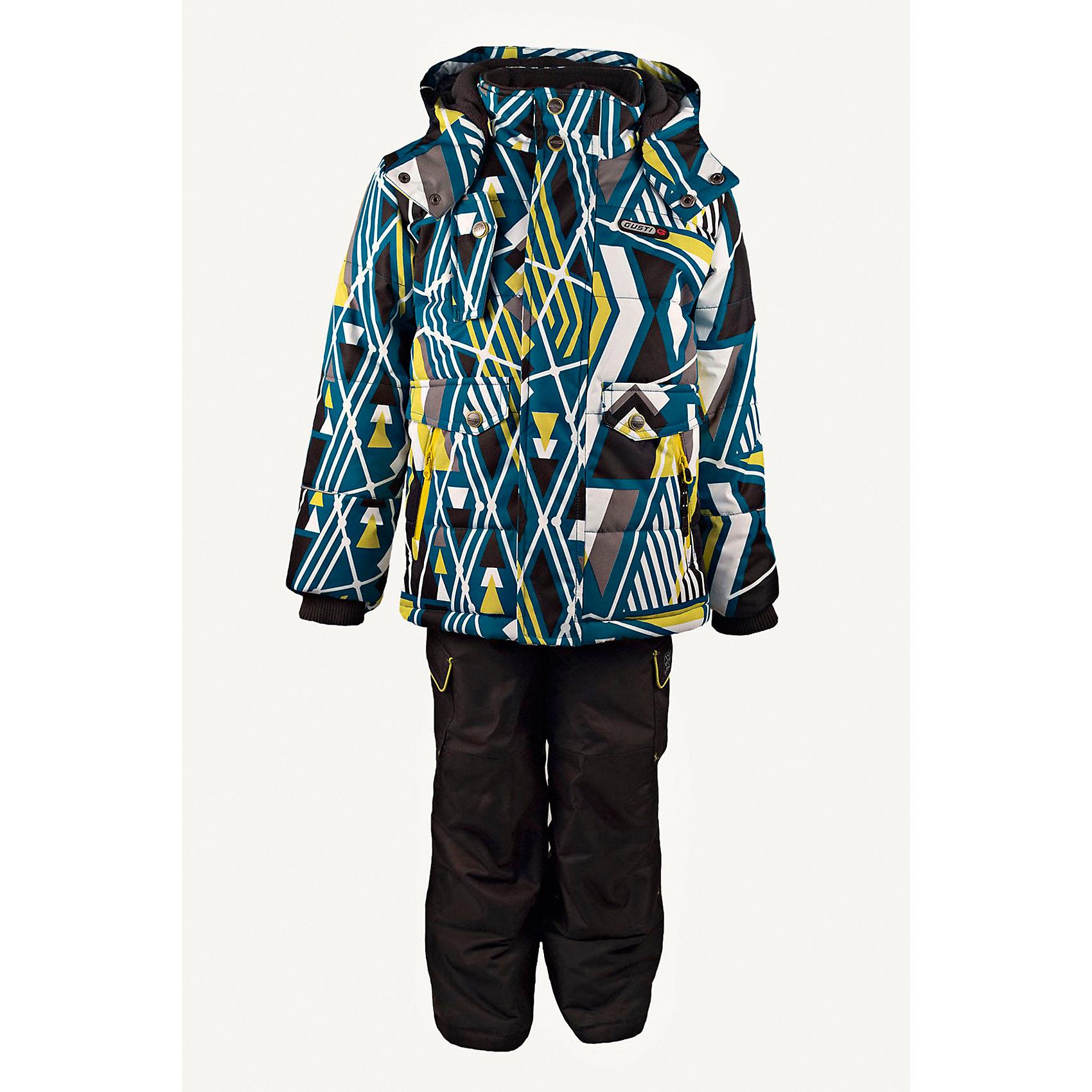 Комплект: куртка и полукомбинезон GUSTIВерхняя одежда<br>Комплект: куртка и полукомбинезон GUSTI (ГУСТИ) – это идеальный вариант для суровой зимы с сильными морозами.<br><br>Температурный режим: до -30  градусов. Степень утепления – высокая. <br><br>* Температурный режим указан приблизительно — необходимо, прежде всего, ориентироваться на ощущения ребенка. Температурный режим работает в случае соблюдения правила многослойности – использования флисовой поддевы и термобелья.<br><br>Комплект от GUSTI (ГУСТИ) состоит из куртки и полукомбинезона прямого кроя, выполненных из плотного непромокаемого материала с защитной от влаги мембраной 5000 мм. Тань хорошо сохраняет тепло, отталкивает влагу и позволяет коже ребенка дышать. Утеплитель из тек-полифилла и флисовая внутренняя отделка на груди и на спинке дают возможность использовать комплект при очень низких температурах. Куртка застегивается на молнию с ветрозащитной планкой, имеет боковые карманы на застежках-молниях, снегозащитную юбку, трикотажные манжеты в рукавах, отстёгивающийся прилегающий капюшон с флисовой подкладкой, высокий ворот с защитой подбородка. Низ рукавов регулируется с помощью липучек. Полукомбинезон застегивается на молнию, имеет два накладных кармана с клапанами на липучках, регулируемые лямки, снегозащитные гетры. Длина брючин регулируется (отворот с креплением на липе). Сзади, на коленях, и по низу брючин имеется дополнительный слой ткани Cordura Oxford (сверхстойкий полиэстер). До размера 6х (120 см) у полукомбинезона высокая грудка, в размерах 7 (122 см) - 14 (164см) отстегивающаяся спинка, грудки нет.<br><br>Дополнительная информация:<br><br>- Сезон: зима<br>- Пол: мальчик<br>- Цвет: серый, синий, желтый, черный<br>- Узор: геометрия<br>- Температурный режим до -30 градусов<br>- Материал верха: куртка - shuss 5000мм (100% полиэстер); брюки - taslan 5000мм, накладки Cordura Oxford сзади, на коленях, и по низу брючин<br>- Наполнитель: куртка - тек-полифилл плотностью 283 гр/м (10 унций) 100% полиэс