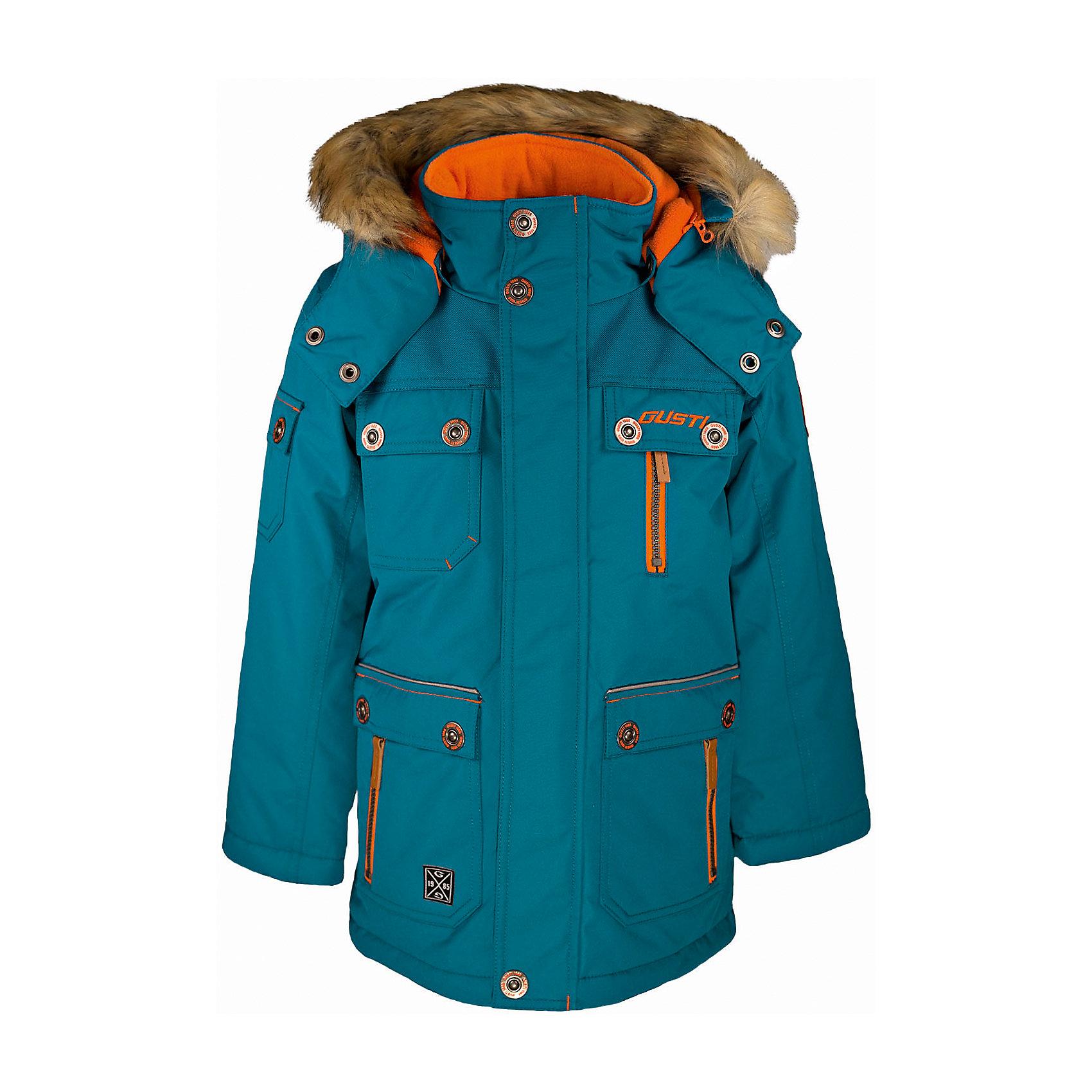 Куртка GUSTIВерхняя одежда<br>Куртка GUSTI (ГУСТИ) – это идеальный вариант для суровой зимы с сильными морозами.<br><br>Температурный режим: до -30  градусов. Степень утепления – высокая. <br><br>* Температурный режим указан приблизительно — необходимо, прежде всего, ориентироваться на ощущения ребенка. Температурный режим работает в случае соблюдения правила многослойности – использования флисовой поддевы и термобелья.<br><br>Удлиненная куртка прямого кроя от GUSTI (ГУСТИ) выполнена из плотного непромокаемого материала с защитной от влаги мембраной 5000 мм. Тань хорошо сохраняет тепло, отталкивает влагу и позволяет коже ребенка дышать. Утеплитель из тек-полифилла и флисовая внутренняя отделка на груди и на спинке дают возможность использовать куртку при очень низких температурах. Куртка застегивается на молнию с ветрозащитной планкой, имеет удобные карманы, кулиску внутри по талии, высокий ворот с защитой шеи и подбородка, съемный капюшон с флисовой подкладкой и отстегивающейся оторочкой из искусственного меха. Модель подходит для прогулок на морозе до -30 градусов.<br><br>Дополнительная информация:<br><br>- Сезон: зима<br>- Пол: мальчик<br>- Цвет: голубой<br>- Температурный режим до -30 градусов<br>- Материал верха: shuss 5000мм (100% полиэстер)<br>- Наполнитель: тек-полифилл плотностью 283 гр/м (10 унций) 100% полиэстер<br>- Подкладка: флис на груди и спинке (100% полиэстер)<br>- Молнии и фурнитура YKK<br>- Светоотражающие элементы 3М Scotchlite<br><br>Куртку GUSTI (ГУСТИ) можно купить в нашем интернет-магазине.<br><br>Ширина мм: 356<br>Глубина мм: 10<br>Высота мм: 245<br>Вес г: 519<br>Цвет: голубой<br>Возраст от месяцев: 12<br>Возраст до месяцев: 24<br>Пол: Мужской<br>Возраст: Детский<br>Размер: 92,164,98,100,104,110,116,120,122,128,140,152<br>SKU: 4972544