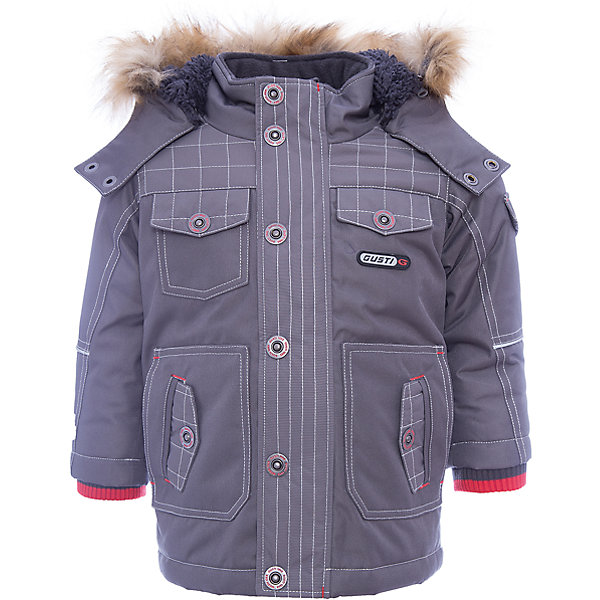 Куртка GUSTIВерхняя одежда<br>Куртка GUSTI (ГУСТИ) – это идеальный вариант для суровой зимы с сильными морозами.<br><br>Температурный режим: до -30  градусов. Степень утепления – высокая. <br><br>* Температурный режим указан приблизительно — необходимо, прежде всего, ориентироваться на ощущения ребенка. Температурный режим работает в случае соблюдения правила многослойности – использования флисовой поддевы и термобелья.<br><br>Удлиненная куртка прямого кроя от GUSTI (ГУСТИ) выполнена из плотного непромокаемого материала с защитной от влаги мембраной 5000 мм. Тань хорошо сохраняет тепло, отталкивает влагу и позволяет коже ребенка дышать. Утеплитель из тек-полифилла и флисовая внутренняя отделка на груди и на спинке дают возможность использовать куртку при очень низких температурах. Куртка застегивается на молнию с ветрозащитной планкой, имеет шесть удобных карманов, кулиску внутри по талии, высокий ворот с защитой шеи и подбородка, съемный капюшон с флисовой подкладкой и отстегивающейся оторочкой из искусственного меха. Модель подходит для прогулок на морозе до -30 градусов.<br><br>Дополнительная информация:<br><br>- Сезон: зима<br>- Пол: мальчик<br>- Цвет: серый<br>- Температурный режим до -30 градусов<br>- Материал верха: shuss 5000мм (100% полиэстер)<br>- Наполнитель: тек-полифилл плотностью 283 гр/м (10 унций) 100% полиэстер<br>- Подкладка: флис на груди и спинке (100% полиэстер)<br>- Молнии и фурнитура YKK<br>- Светоотражающие элементы 3М Scotchlite<br><br>Куртку GUSTI (ГУСТИ) можно купить в нашем интернет-магазине.<br><br>Ширина мм: 356<br>Глубина мм: 10<br>Высота мм: 245<br>Вес г: 519<br>Цвет: серый<br>Возраст от месяцев: 12<br>Возраст до месяцев: 24<br>Пол: Мужской<br>Возраст: Детский<br>Размер: 120,116,110,104,100,98,92,140,164,152,128,122<br>SKU: 4972557