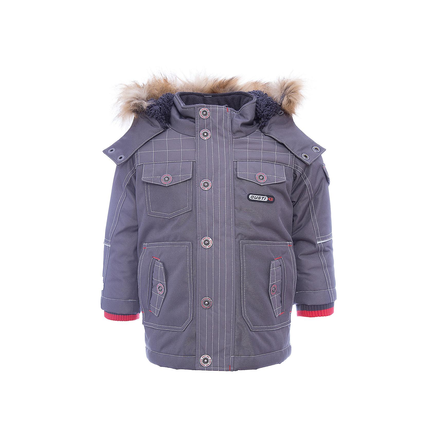Куртка GUSTIВерхняя одежда<br>Куртка GUSTI (ГУСТИ) – это идеальный вариант для суровой зимы с сильными морозами.<br><br>Температурный режим: до -30  градусов. Степень утепления – высокая. <br><br>* Температурный режим указан приблизительно — необходимо, прежде всего, ориентироваться на ощущения ребенка. Температурный режим работает в случае соблюдения правила многослойности – использования флисовой поддевы и термобелья.<br><br>Удлиненная куртка прямого кроя от GUSTI (ГУСТИ) выполнена из плотного непромокаемого материала с защитной от влаги мембраной 5000 мм. Тань хорошо сохраняет тепло, отталкивает влагу и позволяет коже ребенка дышать. Утеплитель из тек-полифилла и флисовая внутренняя отделка на груди и на спинке дают возможность использовать куртку при очень низких температурах. Куртка застегивается на молнию с ветрозащитной планкой, имеет шесть удобных карманов, кулиску внутри по талии, высокий ворот с защитой шеи и подбородка, съемный капюшон с флисовой подкладкой и отстегивающейся оторочкой из искусственного меха. Модель подходит для прогулок на морозе до -30 градусов.<br><br>Дополнительная информация:<br><br>- Сезон: зима<br>- Пол: мальчик<br>- Цвет: серый<br>- Температурный режим до -30 градусов<br>- Материал верха: shuss 5000мм (100% полиэстер)<br>- Наполнитель: тек-полифилл плотностью 283 гр/м (10 унций) 100% полиэстер<br>- Подкладка: флис на груди и спинке (100% полиэстер)<br>- Молнии и фурнитура YKK<br>- Светоотражающие элементы 3М Scotchlite<br><br>Куртку GUSTI (ГУСТИ) можно купить в нашем интернет-магазине.<br><br>Ширина мм: 356<br>Глубина мм: 10<br>Высота мм: 245<br>Вес г: 519<br>Цвет: серый<br>Возраст от месяцев: 12<br>Возраст до месяцев: 24<br>Пол: Мужской<br>Возраст: Детский<br>Размер: 92,152,164,98,100,104,110,116,120,122,128,140<br>SKU: 4972557