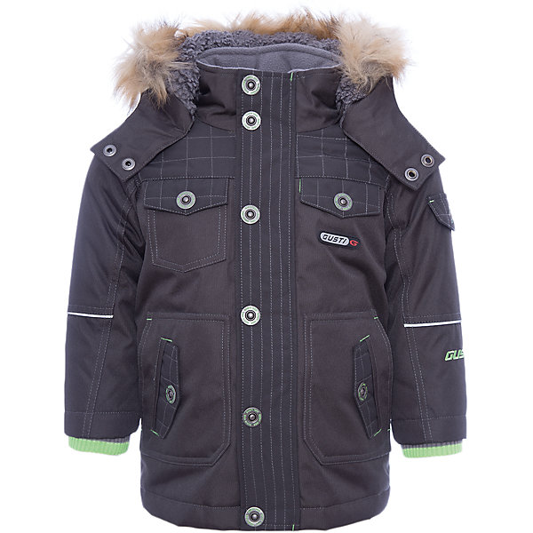 Куртка GUSTIВерхняя одежда<br>Куртка GUSTI (ГУСТИ) – это идеальный вариант для суровой зимы с сильными морозами.<br><br>Температурный режим: до -30  градусов. Степень утепления – высокая. <br><br>* Температурный режим указан приблизительно — необходимо, прежде всего, ориентироваться на ощущения ребенка. Температурный режим работает в случае соблюдения правила многослойности – использования флисовой поддевы и термобелья.<br><br>Удлиненная куртка прямого кроя от GUSTI (ГУСТИ) выполнена из плотного непромокаемого материала с защитной от влаги мембраной 5000 мм. Тань хорошо сохраняет тепло, отталкивает влагу и позволяет коже ребенка дышать. Утеплитель из тек-полифилла и флисовая внутренняя отделка на груди и на спинке дают возможность использовать куртку при очень низких температурах. Куртка застегивается на молнию с ветрозащитной планкой, имеет шесть удобных карманов, кулиску внутри по талии, высокий ворот с защитой шеи и подбородка, съемный капюшон с флисовой подкладкой и отстегивающейся оторочкой из искусственного меха. Модель подходит для прогулок на морозе до -30 градусов.<br><br>Дополнительная информация:<br><br>- Сезон: зима<br>- Пол: мальчик<br>- Цвет: черный<br>- Температурный режим до -30 градусов<br>- Материал верха: shuss 5000мм (100% полиэстер)<br>- Наполнитель: тек-полифилл плотностью 283 гр/м (10 унций) 100% полиэстер<br>- Подкладка: флис на груди и спинке (100% полиэстер)<br>- Молнии и фурнитура YKK<br>- Светоотражающие элементы 3М Scotchlite<br><br>Куртку (удл) GUSTI (ГУСТИ) можно купить в нашем интернет-магазине.<br>Ширина мм: 356; Глубина мм: 10; Высота мм: 245; Вес г: 519; Цвет: черный; Возраст от месяцев: 96; Возраст до месяцев: 108; Пол: Мужской; Возраст: Детский; Размер: 122,120,116,110,104,100,98,128,92,164,152,140; SKU: 4972570;