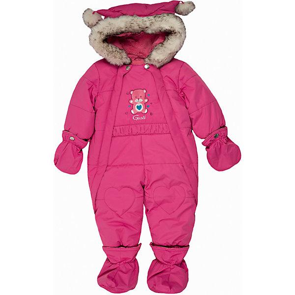 Комбинезон GUSTIВерхняя одежда<br>Комбинезон GUSTI (ГУСТИ) – это комфортный качественный комбинезон, который обеспечит надежную защиту Вашему малышу от холодов в зимний сезон.<br><br>Температурный режим: до -30  градусов. Степень утепления – высокая. <br><br>* Температурный режим указан приблизительно — необходимо, прежде всего, ориентироваться на ощущения ребенка. Температурный режим работает в случае соблюдения правила многослойности – использования флисовой поддевы и термобелья.<br><br>Зимний комбинезон для девочки от GUSTI (ГУСТИ) выполнен из плотного непромокаемого материала с защитной от влаги мембраной 5000 мм. Тань хорошо сохраняет тепло, отталкивает влагу и позволяет коже ребенка дышать. Утеплитель из тек-полифилла и флисовая внутренняя отделка дают возможность использовать комбинезон при очень низких температурах. Наличие двух молний облегчает одевание и раздевание ребенка. Несъемный капюшон изнутри отделан искусственным мехом. В комплекте отстегивающиеся варежки и пинетки. Дизайн дополнен опушкой и небольшими помпонами на капюшоне, что делает модель по-детски задорной и милой. Цельный зимний комбинезон от GUSTI (ГУСТИ) не ограничивает движений и идеально защищает от ветра, холода и низких температур. Модель подходит для прогулок на морозе до -30 градусов. <br><br>Дополнительная информация:<br><br>- Сезон: зима<br>- Температурный режим до -30 градусов<br>- Цвет: розовый<br>- Материал верха: shuss 5000мм (100% полиэстер)<br>- Наполнитель: тек-полифилл плотностью 283 гр/м (10 унций) 100% полиэстер<br>- Подкладка: флис (100% полиэстер)<br>- 2 молнии и фурнитура YKK<br>- Светоотражающие элементы 3М Scotchlite<br>- Пинетки и рукавички отстегиваются<br>- Уход: машинная стирка, легкие загрязнения можно смыть губкой без стирки<br><br>Комбинезон GUSTI (ГУСТИ) можно купить в нашем интернет-магазине.<br>Ширина мм: 356; Глубина мм: 10; Высота мм: 245; Вес г: 519; Цвет: розовый; Возраст от месяцев: 6; Возраст до месяцев: 9; Пол: Женский; Возраст: Детский; Размер: 74,68