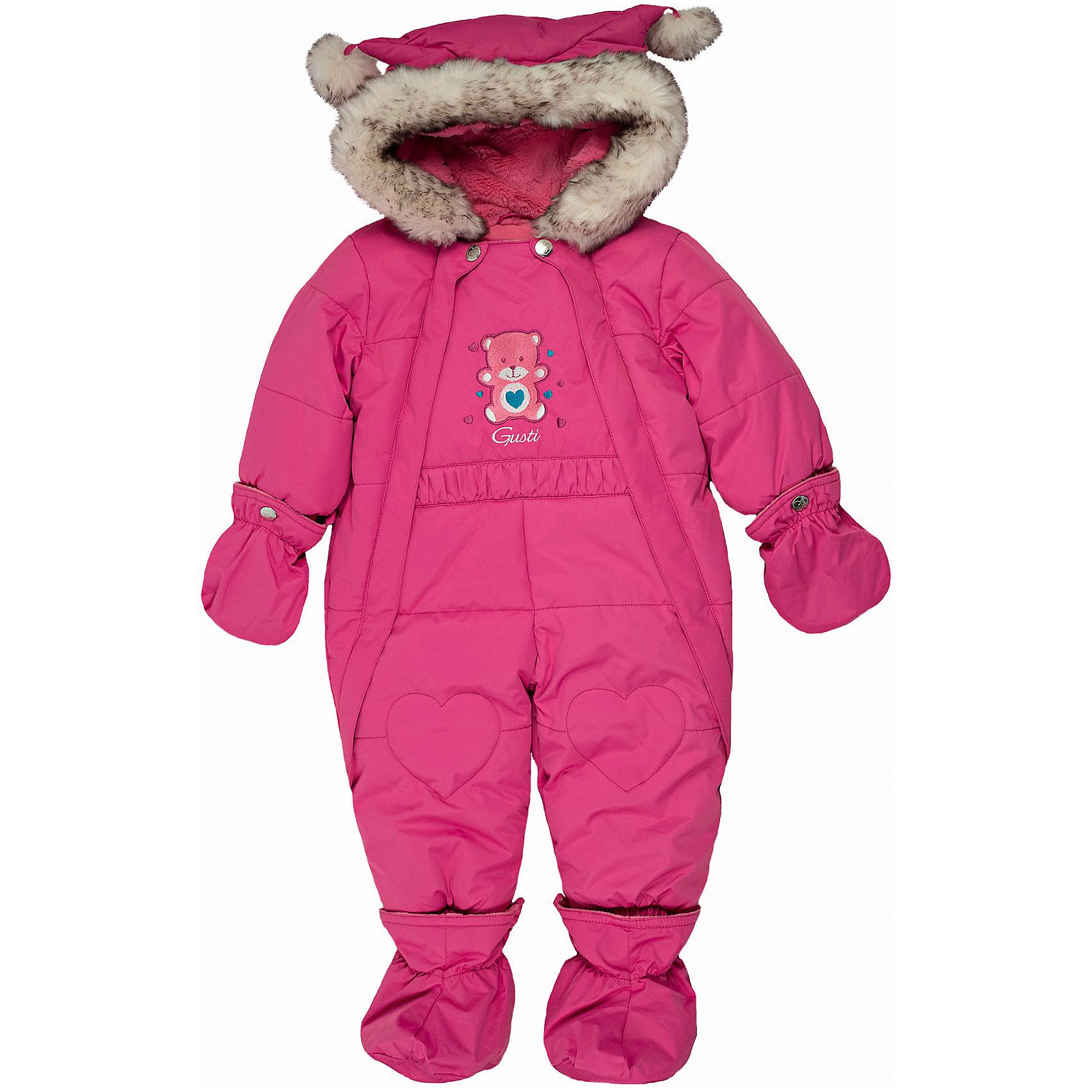 Комбинезон GUSTIВерхняя одежда<br>Комбинезон GUSTI (ГУСТИ) – это комфортный качественный комбинезон, который обеспечит надежную защиту Вашему малышу от холодов в зимний сезон.<br><br>Температурный режим: до -30  градусов. Степень утепления – высокая. <br><br>* Температурный режим указан приблизительно — необходимо, прежде всего, ориентироваться на ощущения ребенка. Температурный режим работает в случае соблюдения правила многослойности – использования флисовой поддевы и термобелья.<br><br>Зимний комбинезон для девочки от GUSTI (ГУСТИ) выполнен из плотного непромокаемого материала с защитной от влаги мембраной 5000 мм. Тань хорошо сохраняет тепло, отталкивает влагу и позволяет коже ребенка дышать. Утеплитель из тек-полифилла и флисовая внутренняя отделка дают возможность использовать комбинезон при очень низких температурах. Наличие двух молний облегчает одевание и раздевание ребенка. Несъемный капюшон изнутри отделан искусственным мехом. В комплекте отстегивающиеся варежки и пинетки. Дизайн дополнен опушкой и небольшими помпонами на капюшоне, что делает модель по-детски задорной и милой. Цельный зимний комбинезон от GUSTI (ГУСТИ) не ограничивает движений и идеально защищает от ветра, холода и низких температур. Модель подходит для прогулок на морозе до -30 градусов. <br><br>Дополнительная информация:<br><br>- Сезон: зима<br>- Температурный режим до -30 градусов<br>- Цвет: розовый<br>- Материал верха: shuss 5000мм (100% полиэстер)<br>- Наполнитель: тек-полифилл плотностью 283 гр/м (10 унций) 100% полиэстер<br>- Подкладка: флис (100% полиэстер)<br>- 2 молнии и фурнитура YKK<br>- Светоотражающие элементы 3М Scotchlite<br>- Пинетки и рукавички отстегиваются<br>- Уход: машинная стирка, легкие загрязнения можно смыть губкой без стирки<br><br>Комбинезон GUSTI (ГУСТИ) можно купить в нашем интернет-магазине.<br><br>Ширина мм: 356<br>Глубина мм: 10<br>Высота мм: 245<br>Вес г: 519<br>Цвет: розовый<br>Возраст от месяцев: 12<br>Возраст до месяцев: 24<br>Пол: Женский<br>Возраст: 