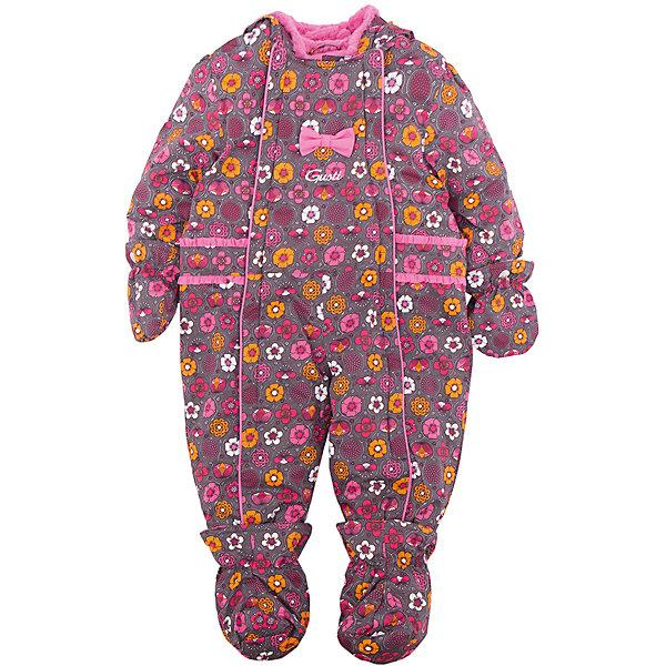 Комбинезон GUSTIВерхняя одежда<br>Комбинезон GUSTI (ГУСТИ) – это комфортный качественный комбинезон, который обеспечит надежную защиту Вашему малышу от холодов в зимний сезон.<br><br>Температурный режим: до -30  градусов. Степень утепления – высокая. <br><br>* Температурный режим указан приблизительно — необходимо, прежде всего, ориентироваться на ощущения ребенка. Температурный режим работает в случае соблюдения правила многослойности – использования флисовой поддевы и термобелья.<br><br>Зимний комбинезон для девочки от GUSTI (ГУСТИ) выполнен из плотного непромокаемого материала с защитной от влаги мембраной 5000 мм. Тань хорошо сохраняет тепло, отталкивает влагу и позволяет коже ребенка дышать. Утеплитель из тек-полифилла и флисовая внутренняя отделка дают возможность использовать комбинезон при очень низких температурах. Наличие двух молний облегчает одевание и раздевание ребенка. Несъемный капюшон изнутри отделан искусственным мехом. В комплекте отстегивающиеся варежки и пинетки. Особую нарядность комбинезону придают использованные в дизайне бантики и рюши. Цельный зимний комбинезон от GUSTI (ГУСТИ) не ограничивает движений и идеально защищает от ветра, холода и низких температур. Модель подходит для прогулок на морозе до -30 градусов.<br><br>Дополнительная информация:<br><br>- Сезон: зима<br>- Температурный режим до -30 градусов<br>- Основной цвет: серый<br>- Материал верха: shuss 5000мм (100% полиэстер)<br>- Наполнитель: тек-полифилл плотностью 283 гр/м (10 унций) 100% полиэстер<br>- Подкладка: флис (100% полиэстер)<br>- 2 молнии и фурнитура YKK<br>- Светоотражающие элементы 3М Scotchlite<br>- Пинетки и рукавички отстегиваются<br>- Уход: машинная стирка, легкие загрязнения можно смыть губкой без стирки<br><br>Комбинезон GUSTI (ГУСТИ) можно купить в нашем интернет-магазине.<br><br>Ширина мм: 356<br>Глубина мм: 10<br>Высота мм: 245<br>Вес г: 519<br>Цвет: серый<br>Возраст от месяцев: 12<br>Возраст до месяцев: 24<br>Пол: Женский<br>Возраст: Детский<br>Размер: 90,8