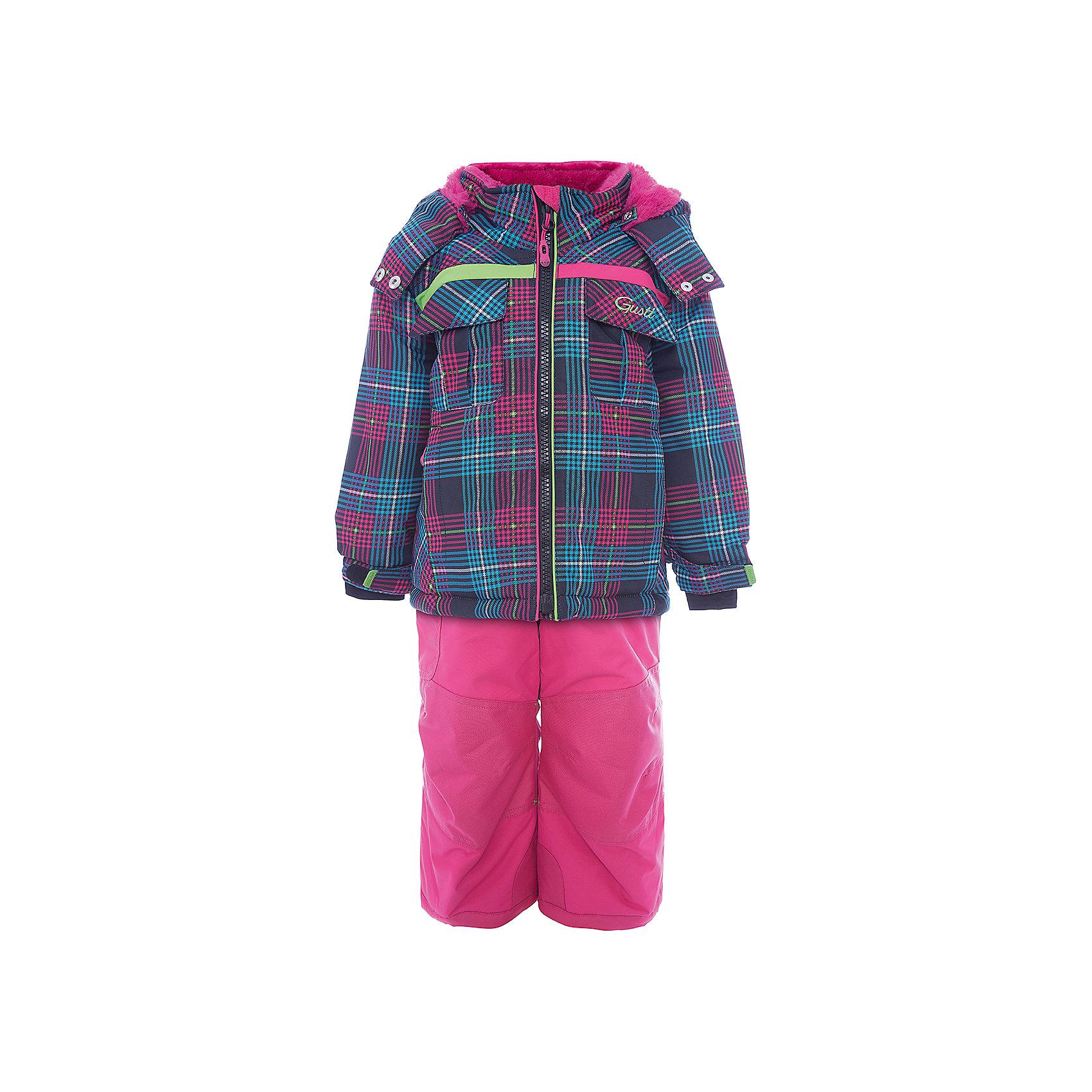 Комплект: куртка и полукомбинезон GUSTIВерхняя одежда<br>Комплект: куртка и полукомбинезон GUSTI (ГУСТИ) – это идеальный вариант для суровой зимы с сильными морозами.<br><br>Температурный режим: до -30  градусов. Степень утепления – высокая. <br><br>* Температурный режим указан приблизительно — необходимо, прежде всего, ориентироваться на ощущения ребенка. Температурный режим работает в случае соблюдения правила многослойности – использования флисовой поддевы и термобелья.<br><br>Комплект от GUSTI (ГУСТИ) состоит из куртки и полукомбинезона, выполненных из плотного непромокаемого материала с защитной от влаги мембраной 5000 мм. Тань хорошо сохраняет тепло, отталкивает влагу и позволяет коже ребенка дышать. Утеплитель из тек-полифилла и флисовая внутренняя отделка на груди и на спинке дают возможность использовать комплект при очень низких температурах. Куртка застегивается на молнию, имеет два внешних кармана на молнии с внутренним карабином, два нагрудных кармана с клапаном на липучке, два внутренних кармана без застежки, воротник-стойку, снегозащитную юбку, трикотажные манжеты в рукавах, отстёгивающийся капюшон с подкладкой из искусственного меха. Низ рукавов регулируется с помощью липучек. Полукомбинезон застегивается на молнию, имеет накладной карман с клапаном на липучке, регулируемые лямки, снегозащитные гетры. Длина брючин регулируется (отворот с креплением на липе). Сзади, на коленях, и по низу брючин имеется дополнительный слой ткани Cordura Oxford (сверхстойкий полиэстер). До размера 6х (120 см) у полукомбинезона высокая грудка, в размерах 7 (122 см) - 14 (164см) отстегивающаяся спинка, грудки нет.<br><br>Дополнительная информация:<br><br>- Сезон: зима<br>- Пол: девочка<br>- Цвет: черный, розовый<br>- Температурный режим до -30 градусов<br>- Материал верха: куртка - shuss 5000мм (100% полиэстер); брюки - taslan 5000мм, накладки Cordura Oxford сзади, на коленях, и по низу брючин<br>- Наполнитель: куртка - тек-полифилл плотностью 283 гр/м (10 унций) 100% пол