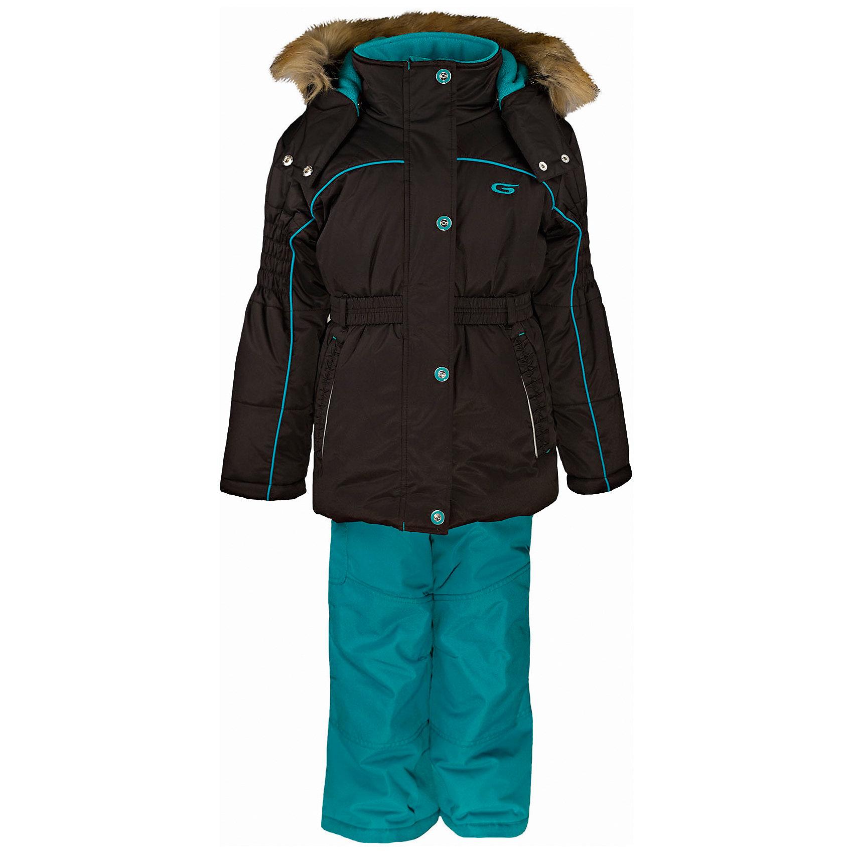 Комплект: куртка и полукомбинезон GUSTIКомплект: куртка и полукомбинезон GUSTI (ГУСТИ) – это идеальный вариант для суровой зимы с сильными морозами.<br><br>Температурный режим: до -30  градусов. Степень утепления – высокая. <br><br>* Температурный режим указан приблизительно — необходимо, прежде всего, ориентироваться на ощущения ребенка. Температурный режим работает в случае соблюдения правила многослойности – использования флисовой поддевы и термобелья.<br><br>Комплект от GUSTI (ГУСТИ) состоит из куртки и полукомбинезона, выполненных из плотного непромокаемого материала с защитной от влаги мембраной 5000 мм. Тань хорошо сохраняет тепло, отталкивает влагу и позволяет коже ребенка дышать. Утеплитель из тек-полифилла и флисовая внутренняя отделка на груди и на спинке дают возможность использовать комплект при очень низких температурах. Куртка застегивается на молнию с ветрозащитной планкой, имеет два боковых кармана на застежках-молниях, эластичный пояс, снегозащитную юбку, трикотажные манжеты в рукавах, высокий ворот с защитой подбородка, отстёгивающийся прилегающий капюшон с флисовой подкладкой и оторочкой из искусственного меха. Полукомбинезон застегивается на молнию, имеет накладной карман с клапаном на липучке, регулируемые лямки, снегозащитные гетры. Длина брючин регулируется (отворот с креплением на липе). Сзади, на коленях, и по низу брючин имеется дополнительный слой ткани Cordura Oxford (сверхстойкий полиэстер). До размера 6х (120 см) у полукомбинезона высокая грудка, в размерах 7 (122 см) - 14 (164см) отстегивающаяся спинка, грудки нет.<br><br>Дополнительная информация:<br><br>- Сезон: зима<br>- Пол: девочка<br>- Цвет: бирюзовый, черный<br>- Узор: однотонный<br>- Температурный режим до -30 градусов<br>- Материал верха: куртка - shuss 5000мм (100% полиэстер); брюки - taslan 5000мм, накладки Cordura Oxford сзади, на коленях, и по низу брючин<br>- Наполнитель: куртка - тек-полифилл плотностью 283 гр/м (10 унций) 100% полиэстер; брюки - тек-полифилл плотностью