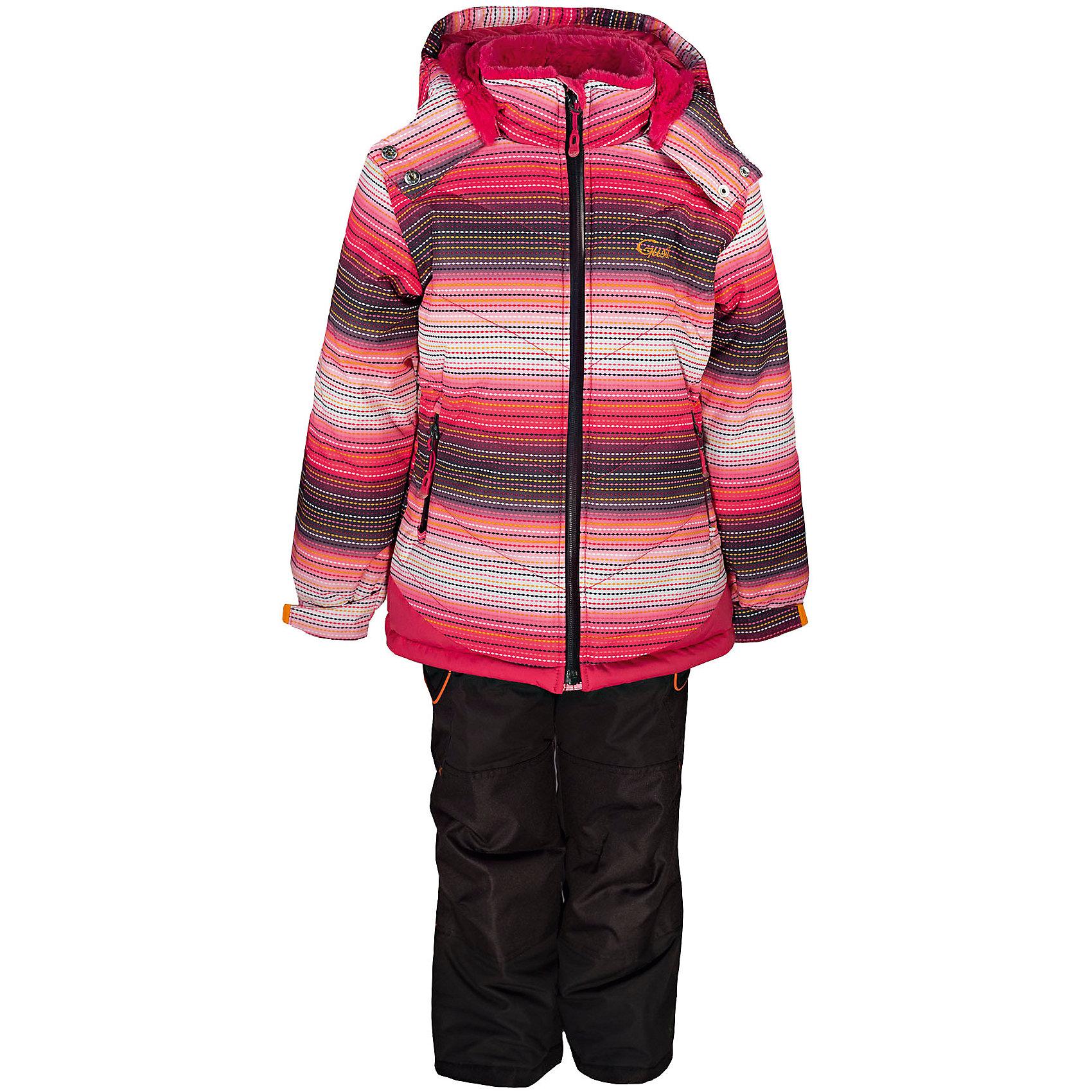 Комплект: куртка и полукомбинезон GUSTIКомплект: куртка и полукомбинезон GUSTI (ГУСТИ) – это идеальный вариант для суровой зимы с сильными морозами.<br><br>Температурный режим: до -30  градусов. Степень утепления – высокая. <br><br>* Температурный режим указан приблизительно — необходимо, прежде всего, ориентироваться на ощущения ребенка. Температурный режим работает в случае соблюдения правила многослойности – использования флисовой поддевы и термобелья.<br><br>Комплект от GUSTI (ГУСТИ) состоит из куртки и полукомбинезона, выполненных из плотного непромокаемого материала с защитной от влаги мембраной 5000 мм. Тань хорошо сохраняет тепло, отталкивает влагу и позволяет коже ребенка дышать. Утеплитель из тек-полифилла и флисовая внутренняя отделка на груди и на спинке дают возможность использовать комплект при очень низких температурах. Куртка застегивается на молнию, имеет два боковых кармана на застежках-молниях, снегозащитную юбку, трикотажные манжеты в рукавах, высокий ворот с защитой подбородка, отстёгивающийся капюшон с подкладкой из искусственного меха. Низ рукавов регулируется с помощью липучек. Полукомбинезон застегивается на молнию, имеет накладной карман с клапаном на липучке, регулируемые лямки, снегозащитные гетры. Длина брючин регулируется (отворот с креплением на липе). Сзади, на коленях, и по низу брючин имеется дополнительный слой ткани Cordura Oxford (сверхстойкий полиэстер). До размера 6х (120 см.) у полукомбинезона высокая грудка, в размерах 7 (122 см.) - 14 (164см) отстегивающаяся спинка, грудки нет. Модель подходит для прогулок на морозе до -30 градусов.<br><br>Дополнительная информация:<br><br>- Сезон: зима<br>- Пол: девочка<br>- Цвет: розовый, черный, серый<br>- Узор: полоска<br>- Температурный режим до -30 градусов<br>- Материал верха: куртка - shuss 5000мм (100% полиэстер); брюки - taslan 5000мм, накладки Cordura Oxford сзади, на коленях, и по низу брючин<br>- Наполнитель: куртка - тек-полифилл плотностью 283 гр/м (10 унций) 100% полиэстер; б